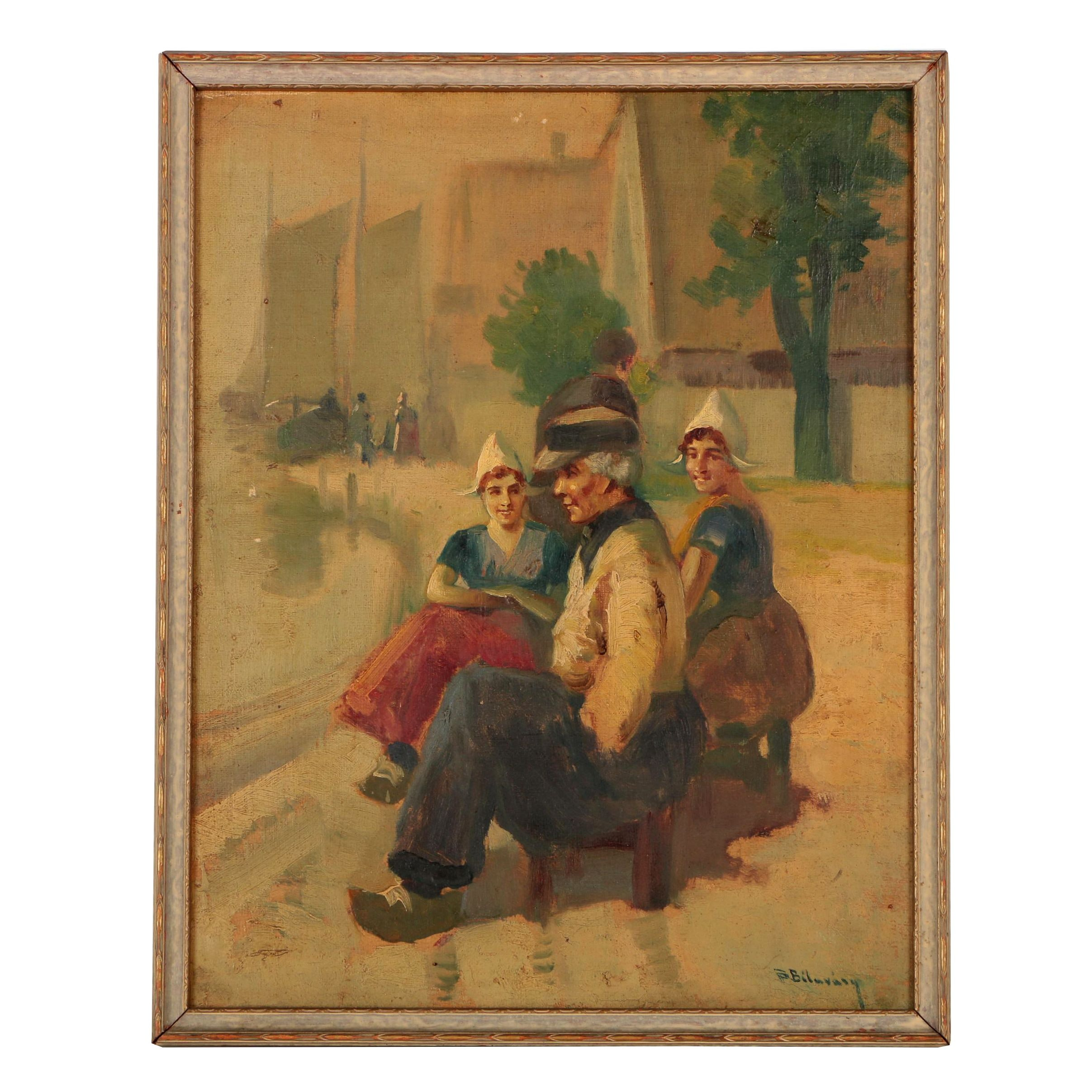 Oil Painting of Dutch Family