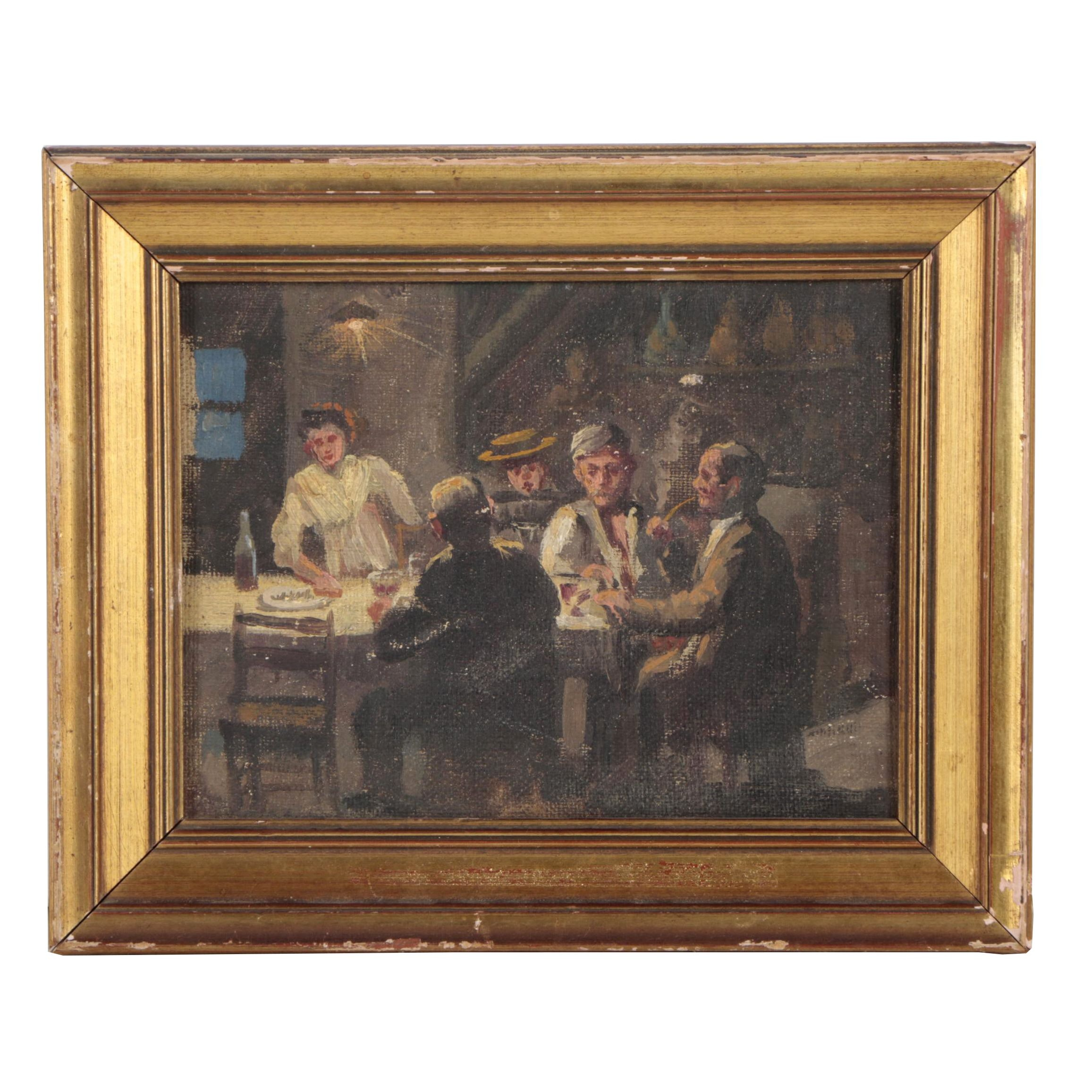 "Early 20th Century Italian Oil Painting  ""Intorno di Bettola"""