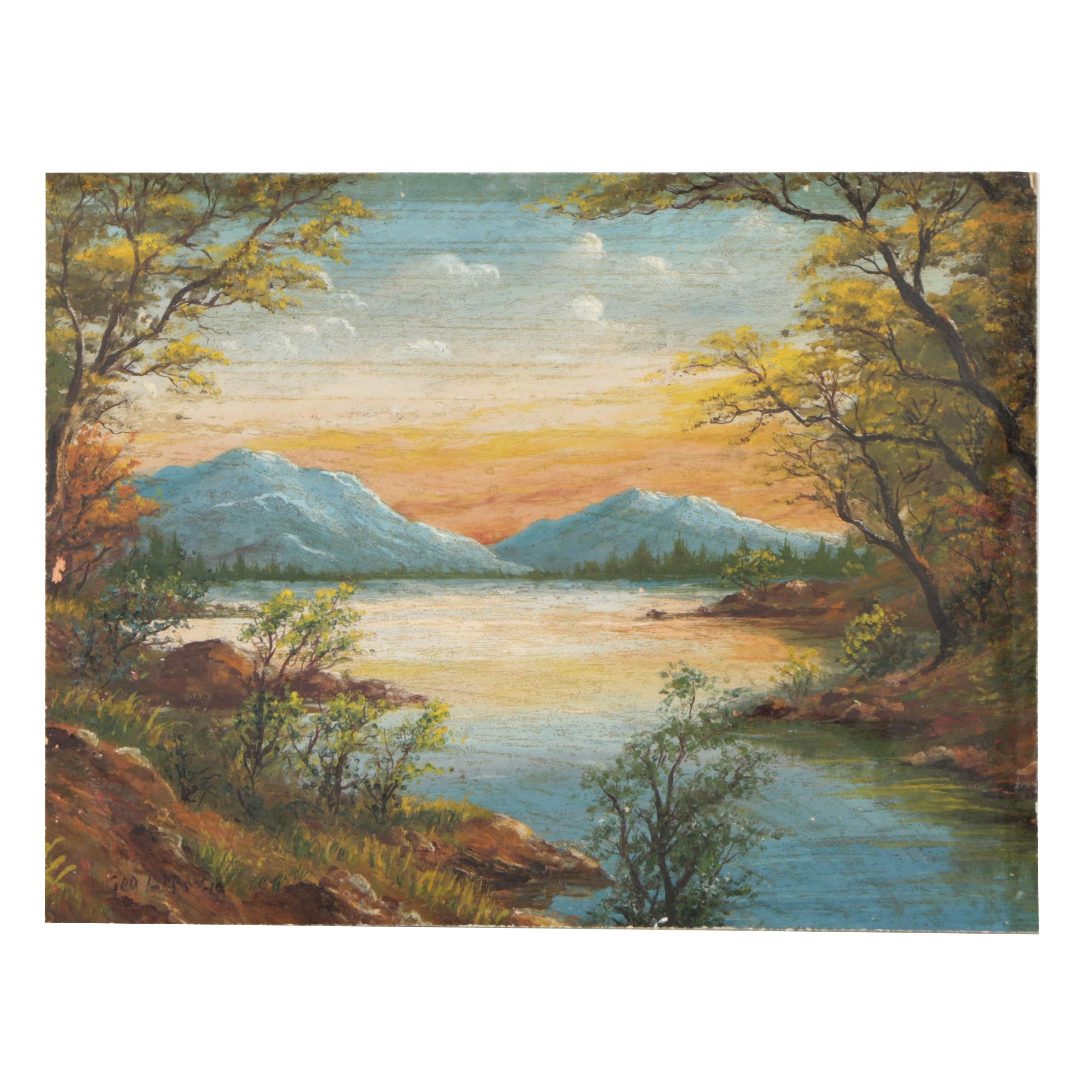 Vintage Oil Painting of the Catskill Mountains