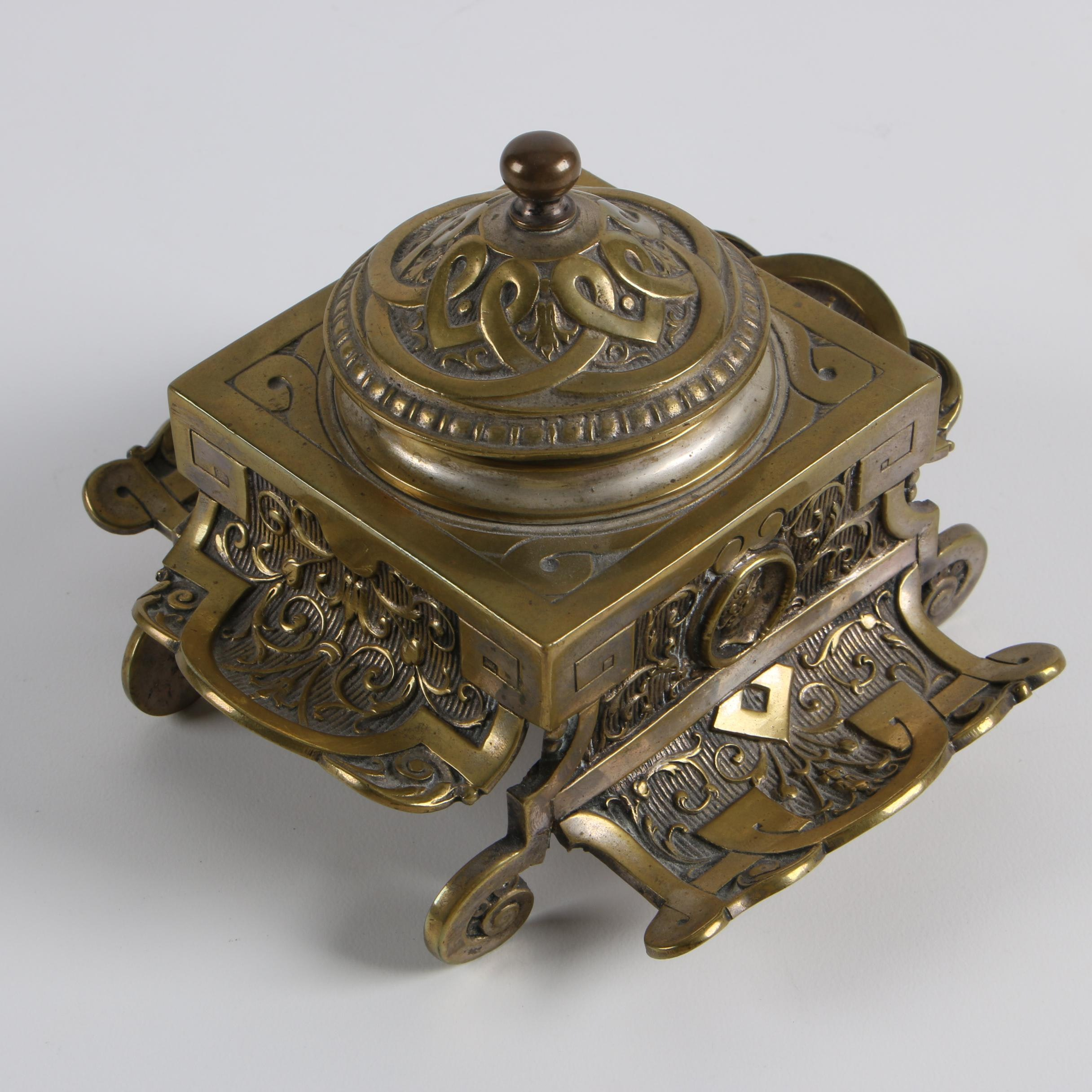 Antique French Silver Plated Brass Inkwell with Neoclassical Medallion