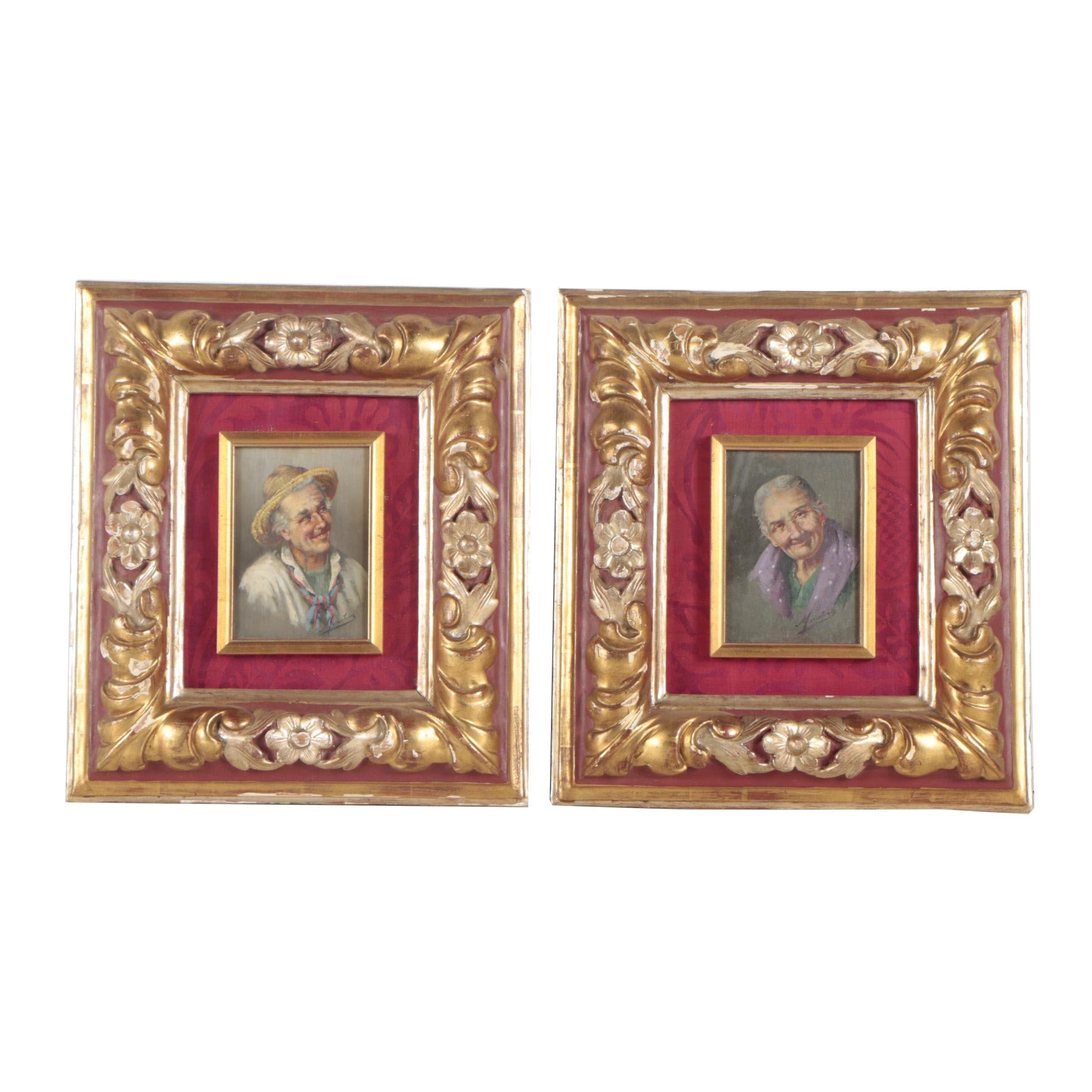 Vintage European Oil Painting Portraits