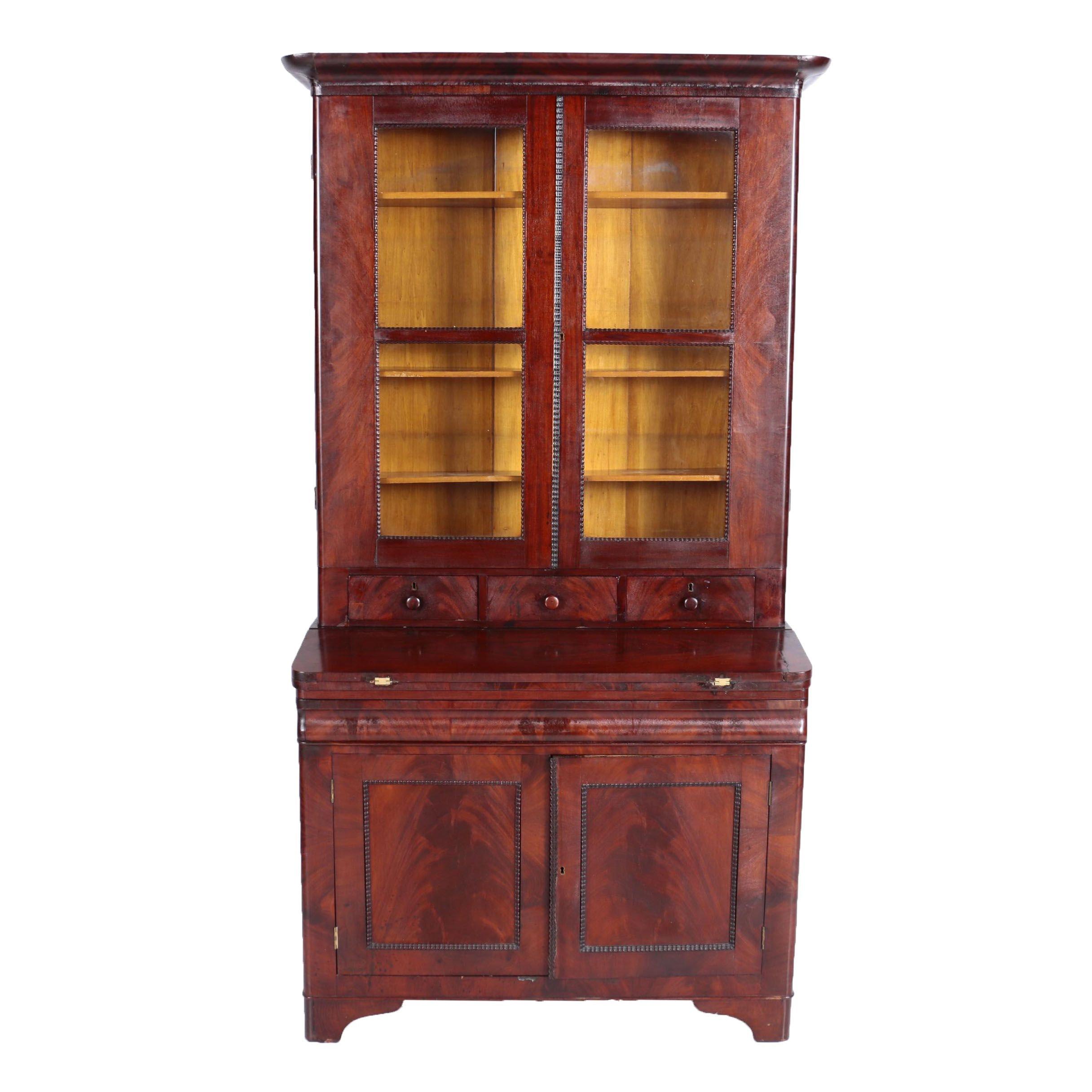 Victorian Mahogany Secretary Bookcase, Mid 19th Century