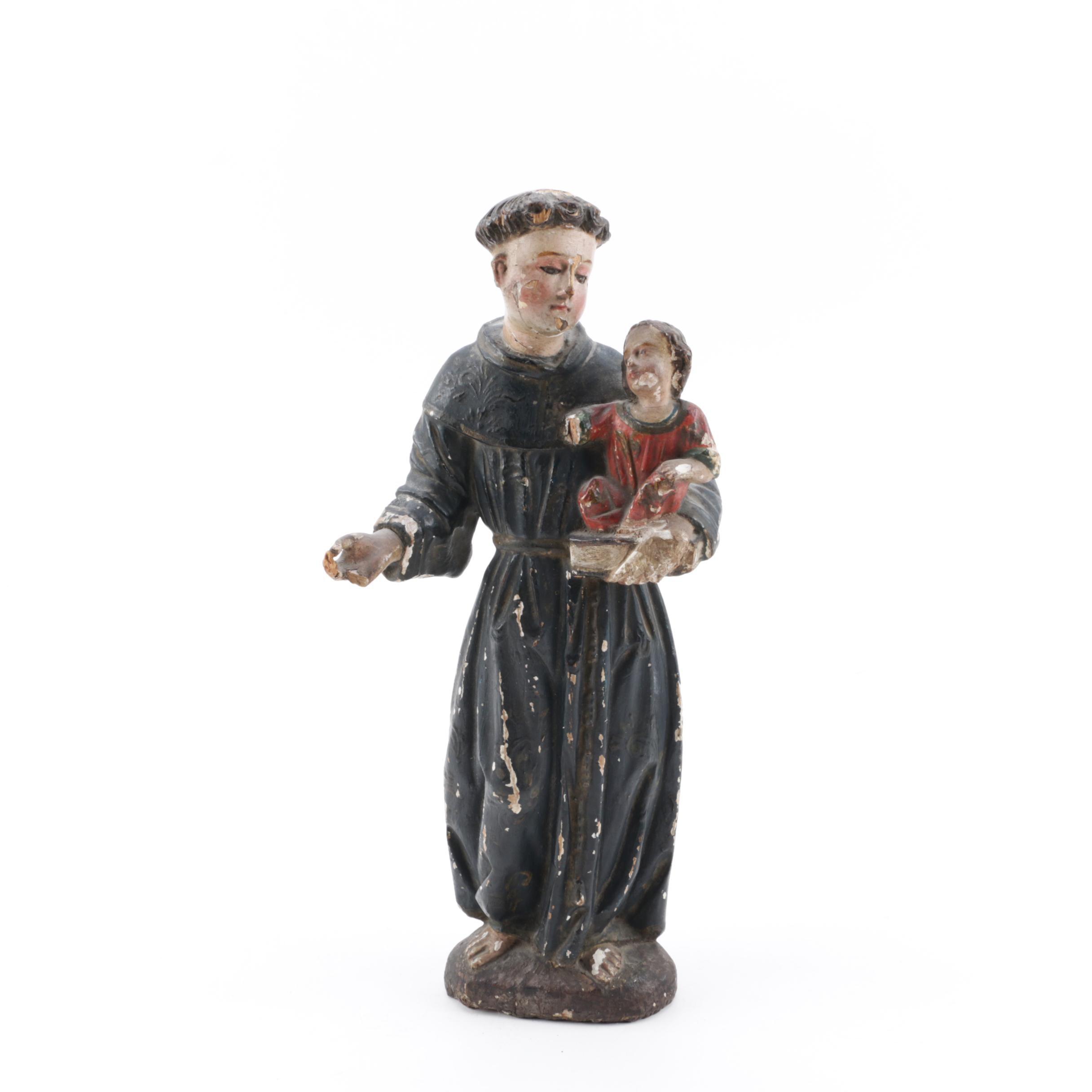 Antique Polychrome Wood Statue of Saint Anthony