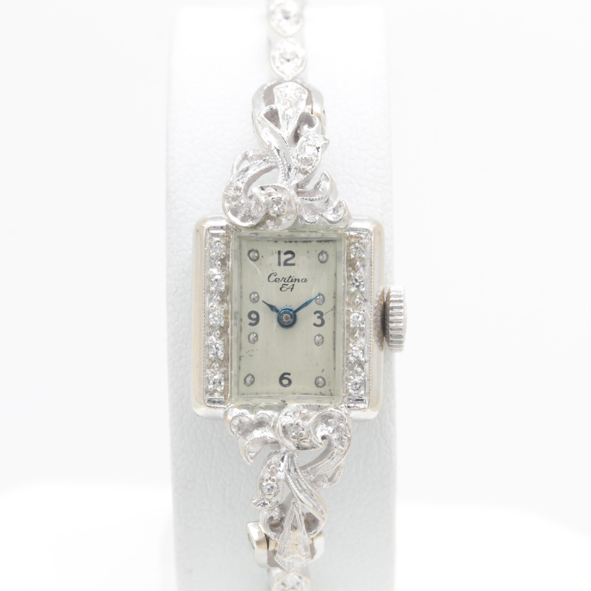 Certina 14K White Gold Diamond Wristwatch