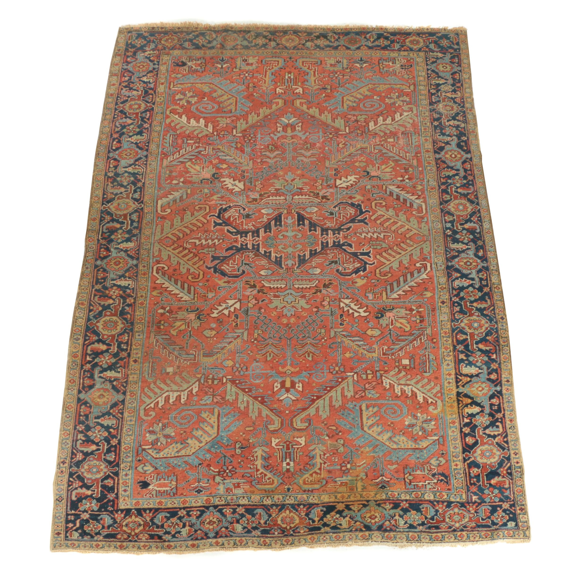 Semi-Antique Hand-Knotted Persian Heriz Wool Area Rug
