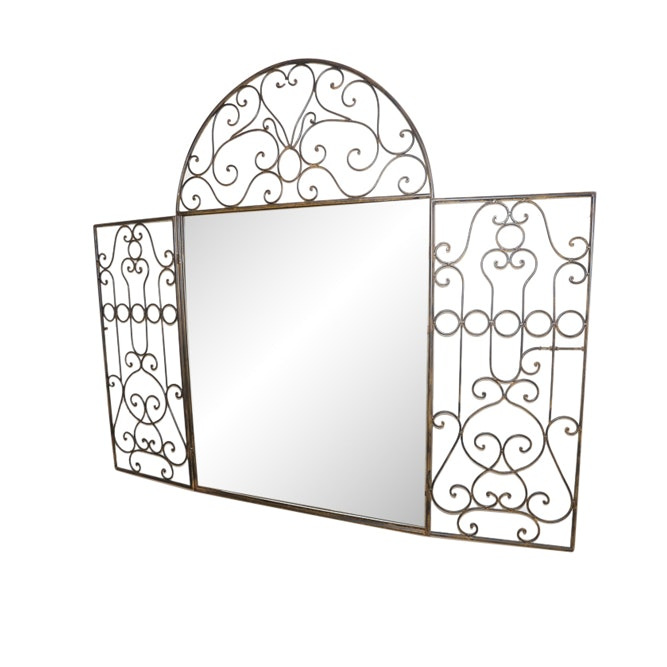 Wall Mirror with Wrought Metal Panels