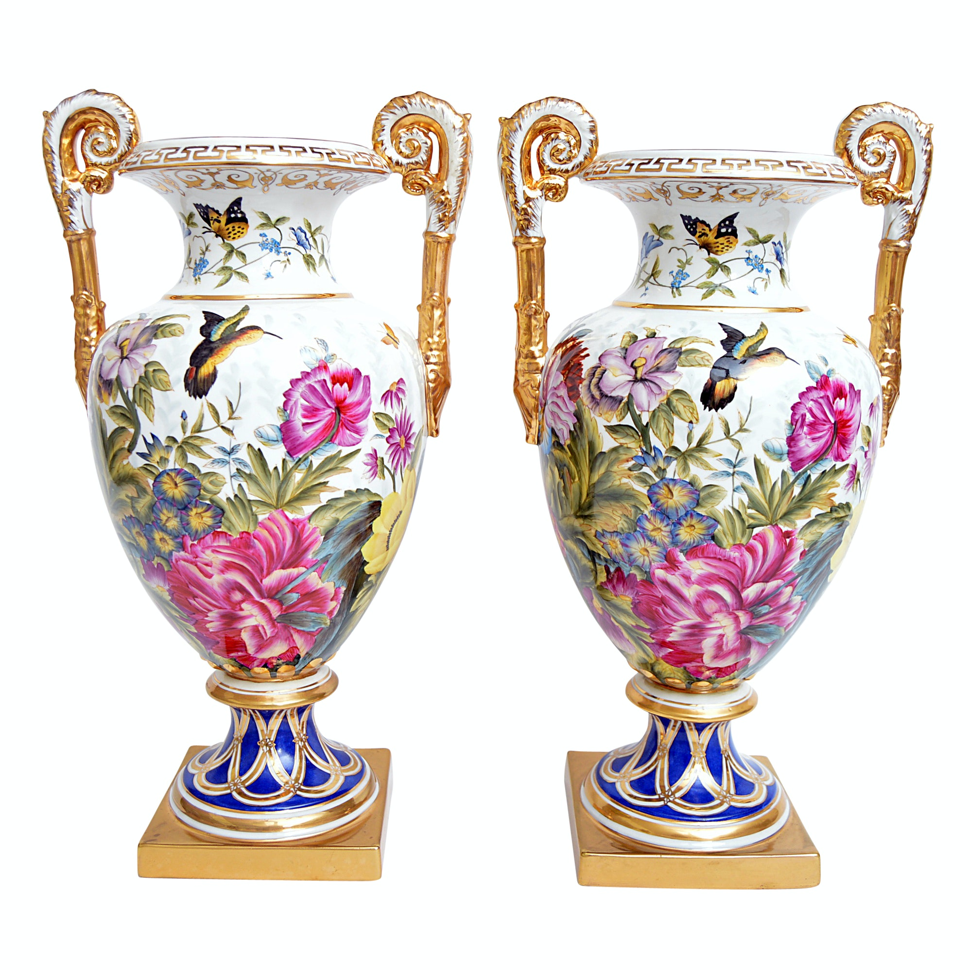 Pair of Chelsea House Old Paris Style Floral-Decorated Porcelain Urns