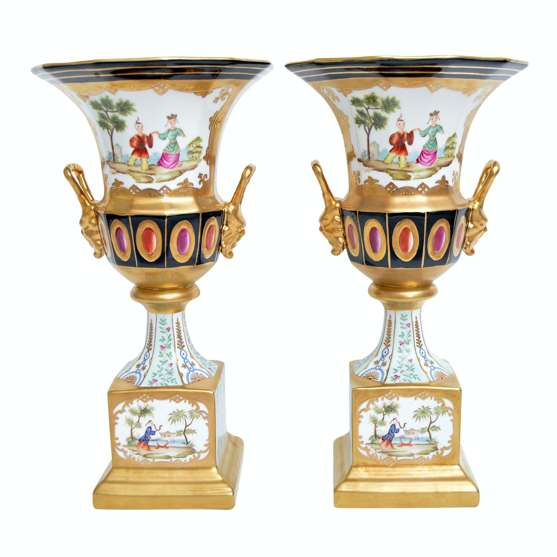 Pair of Chelsea House Old Paris Style Chinoiserie Decorated Porcelain Urns