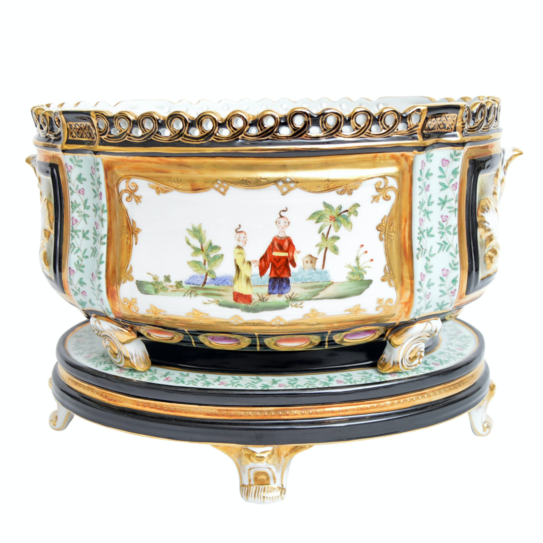 Chelsea House Sèvres Chinoiserie Decorated Porcelain Jardinière With Base