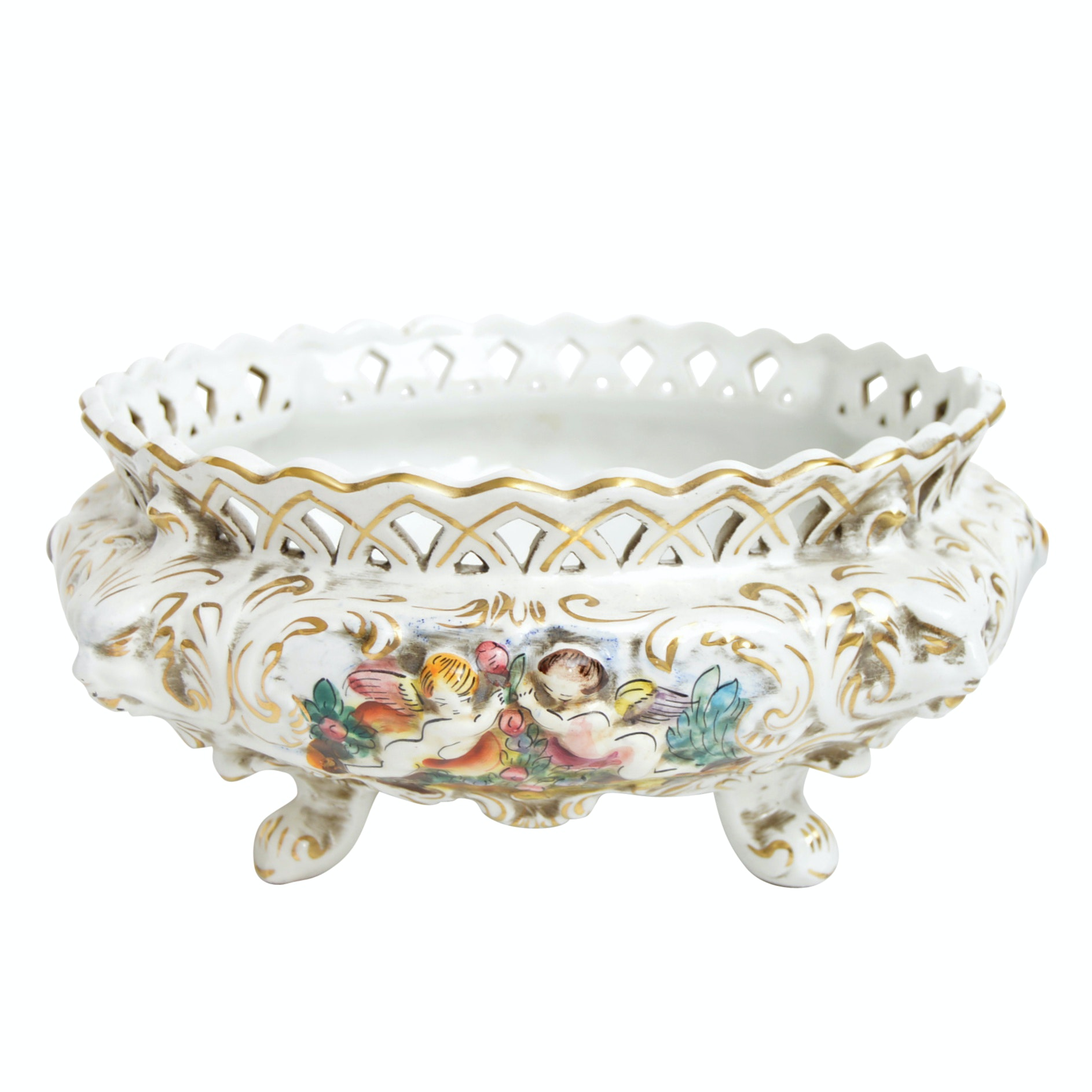 Italian Keramos Capodimonte Hand-Painted Porcelain Oval Bowl