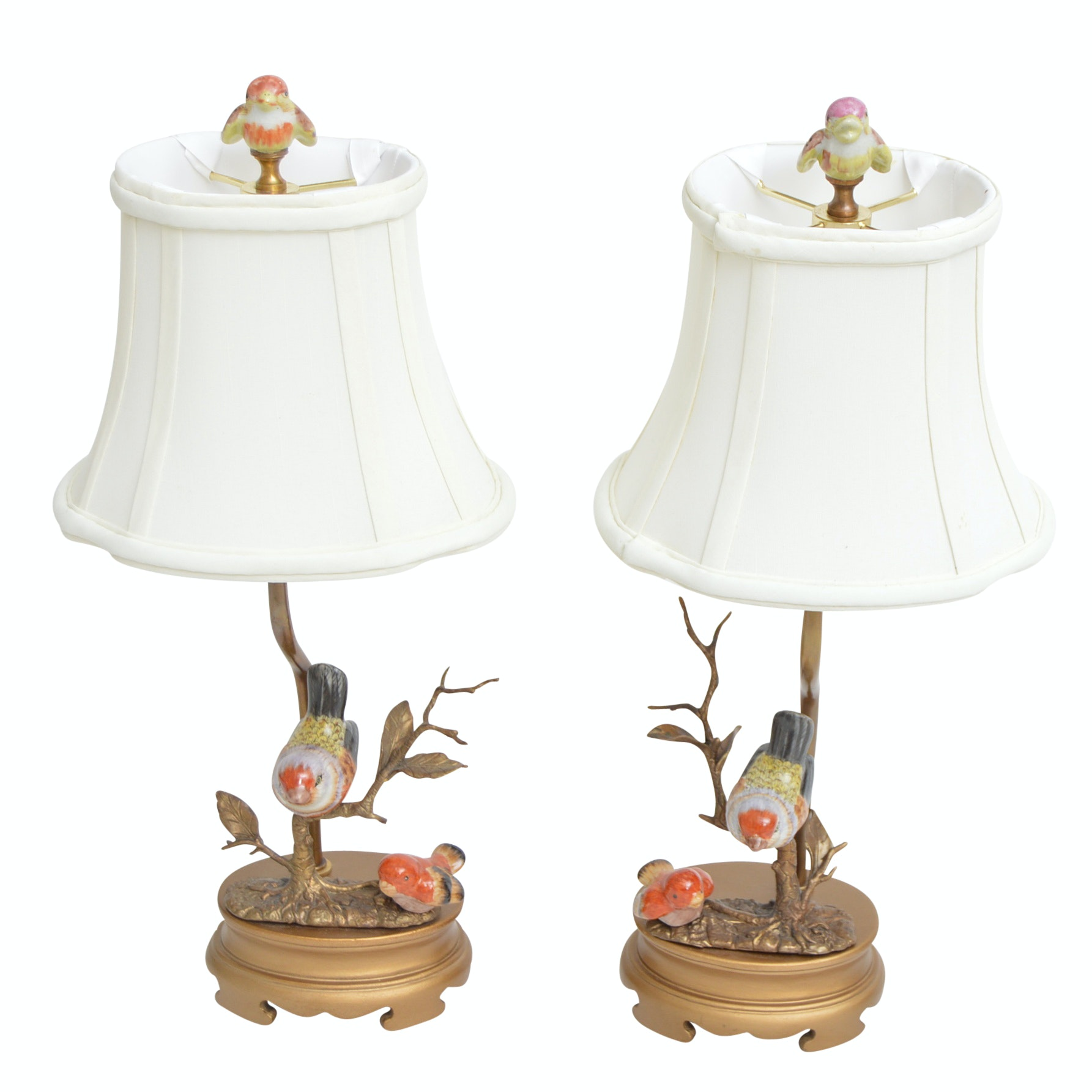 Pair of Brass and Porcelain Bird Lamps