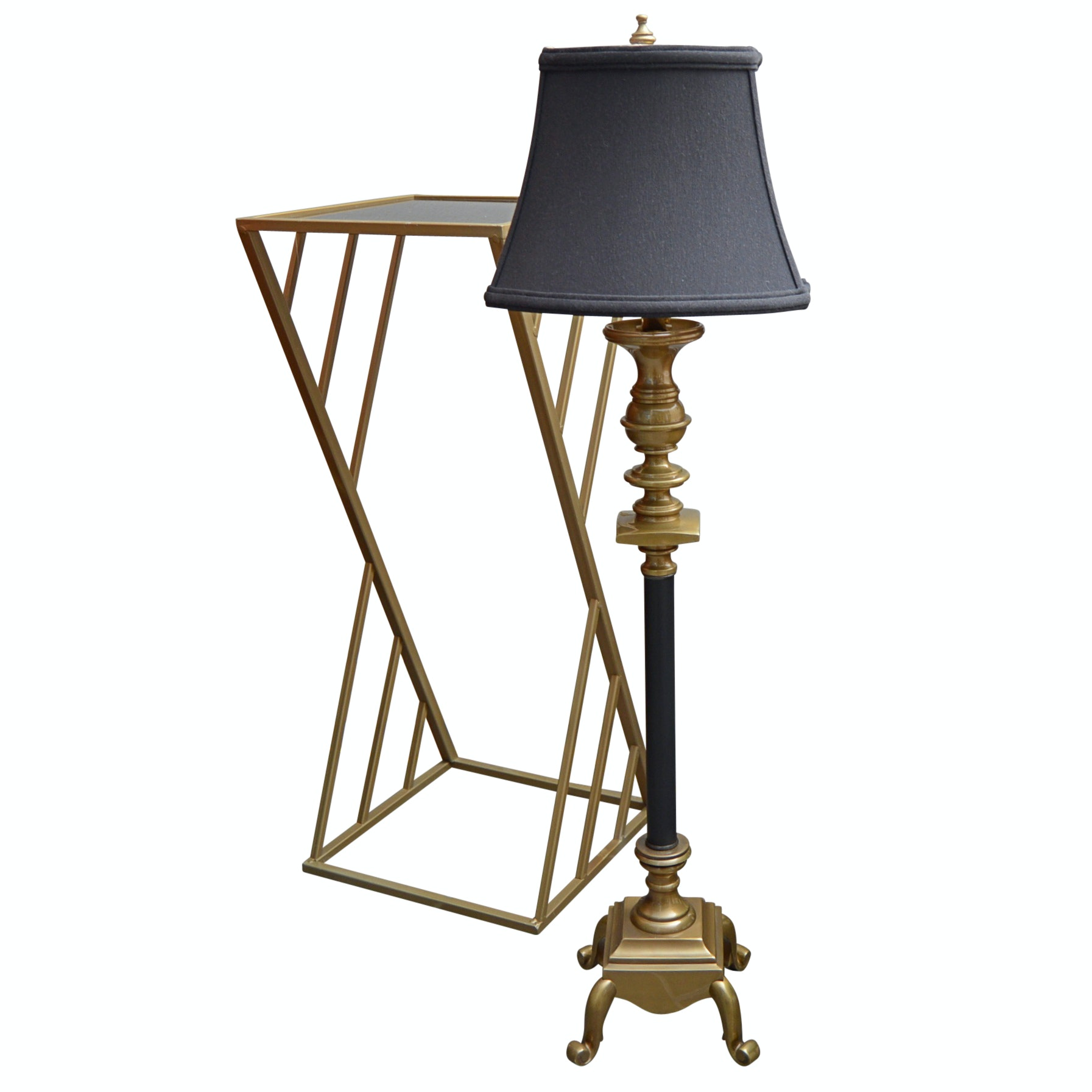 Brass Candlestick Lamp and Accent Table