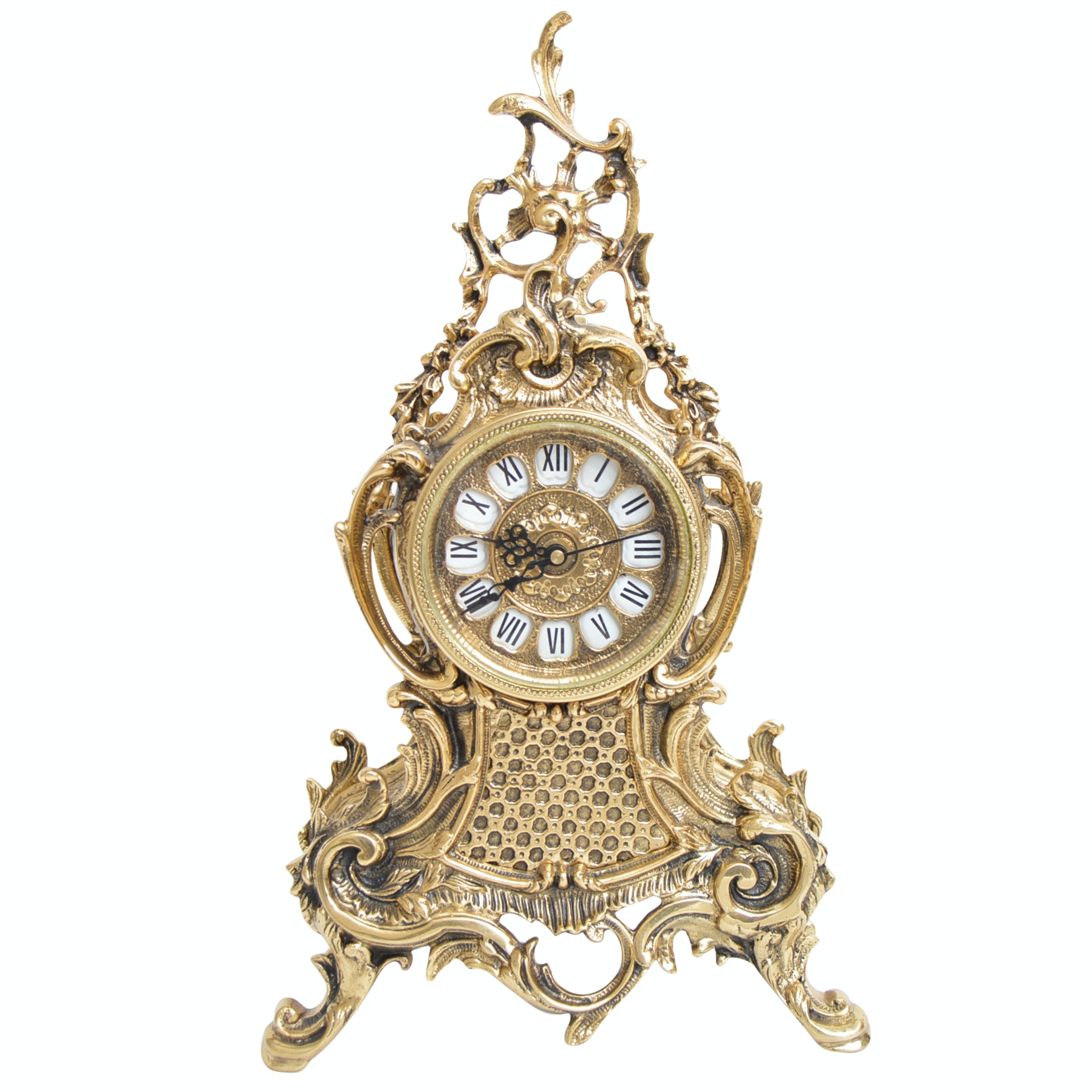 Louis XV Style Brass Mantle Clock