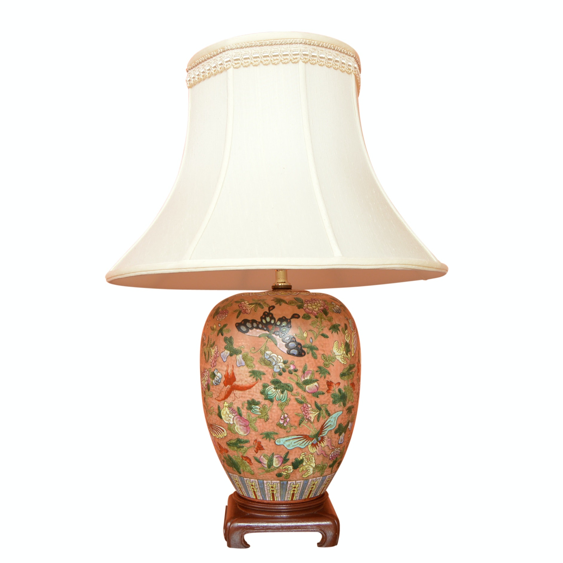 Chinese Butterfly Motif Porcelain Lamp