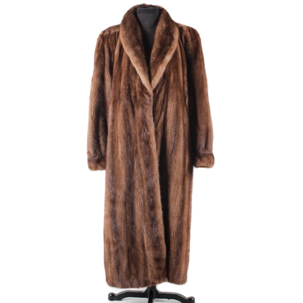 Vintage Brown Mink Fur Full-Length Coat