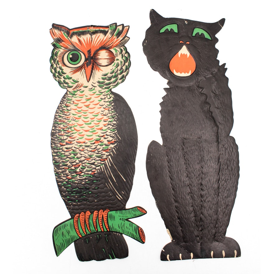 Vintage Halloween H. E. Luhrs Owl and Black Cat Decorations