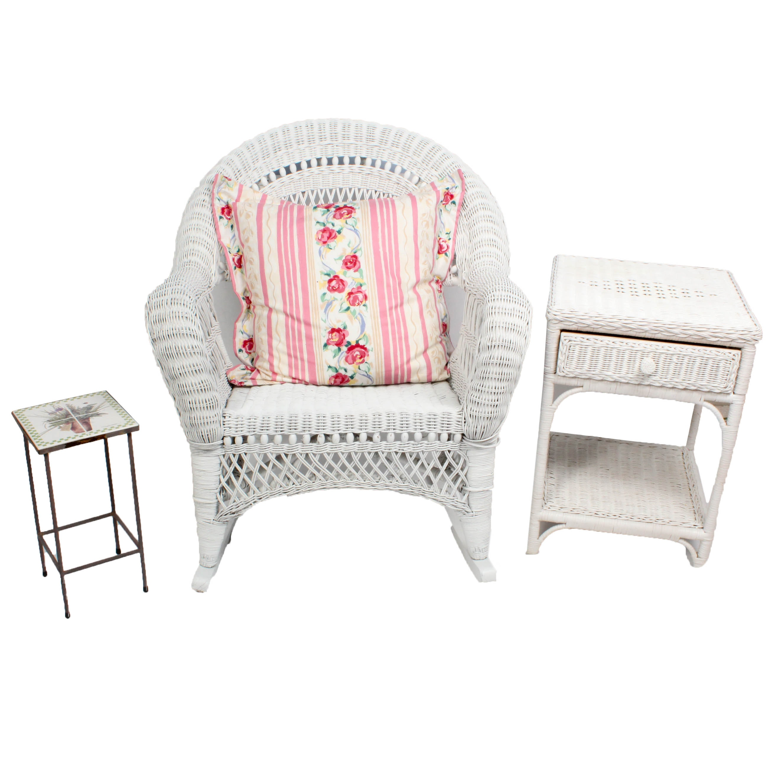 White Painted Wicker Rocker, Nightstand and Painted Tile Side Table