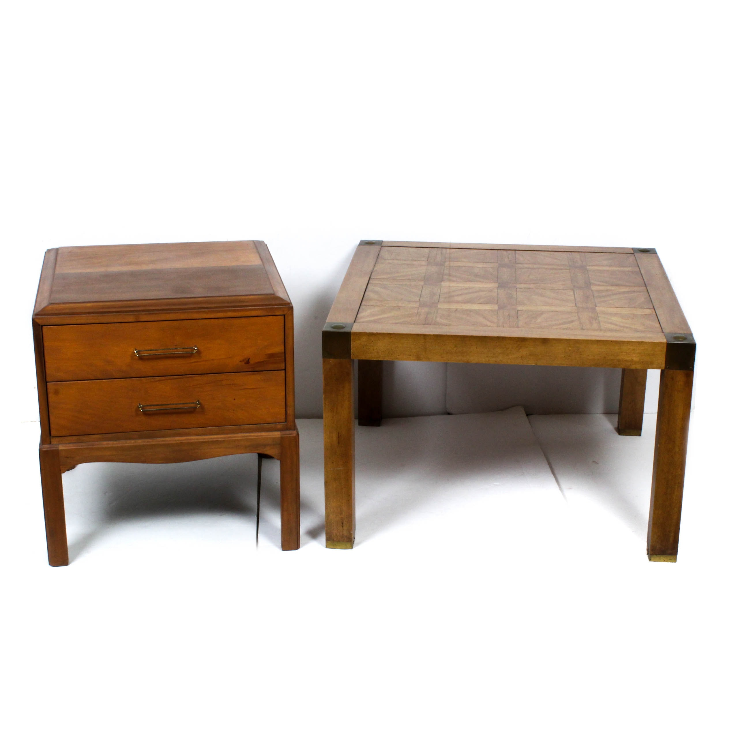 Vintage Wooden Coffee Table and End Table
