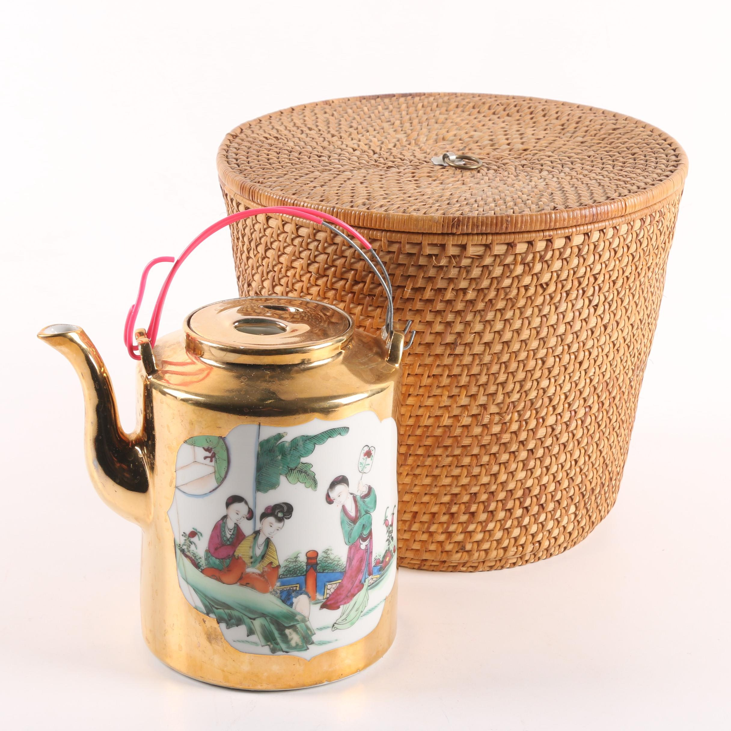 Hand-Painted Chinese Traveling Teapot in Fitted Basket