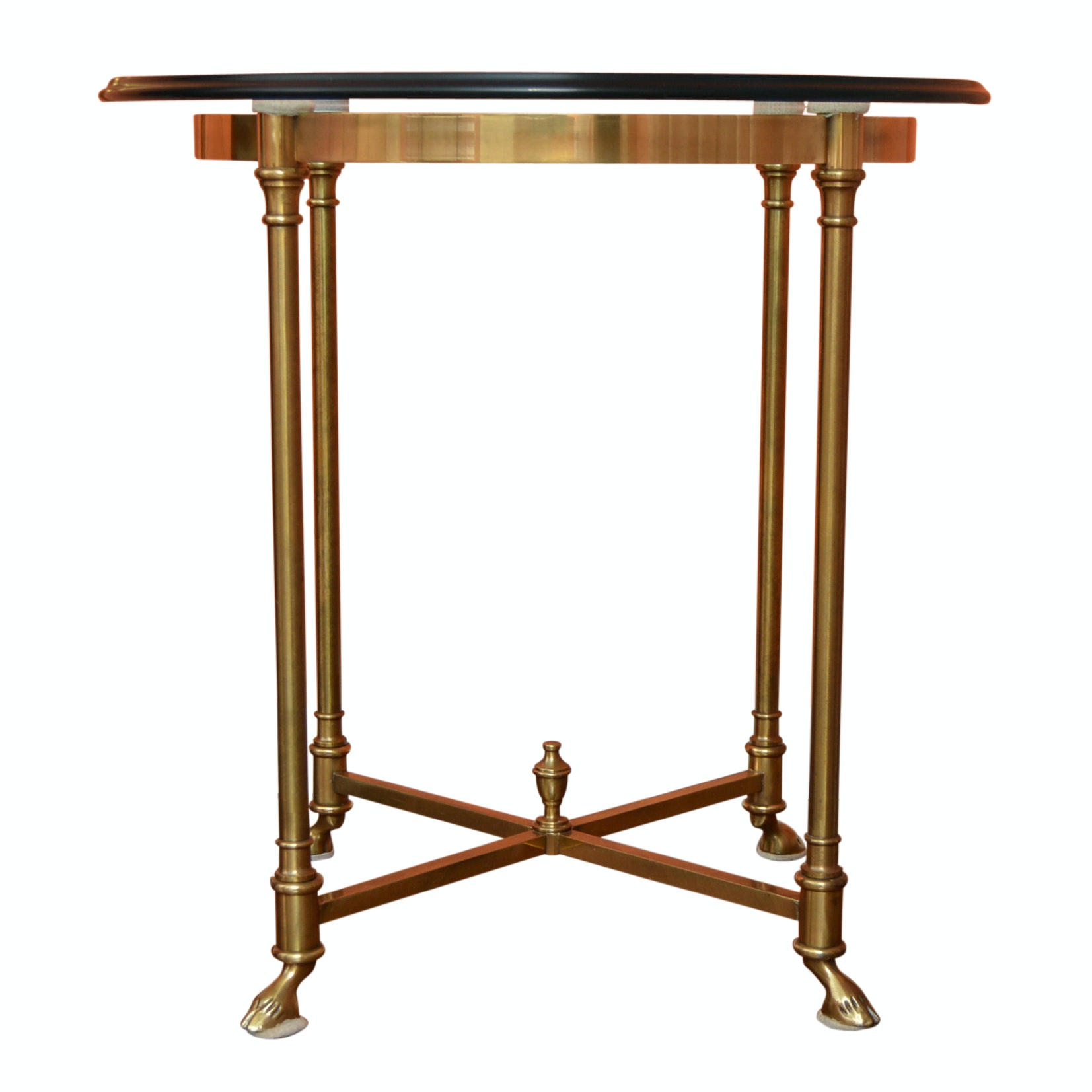 Neoclassic Style Round Brass Side Table with Glass Tops