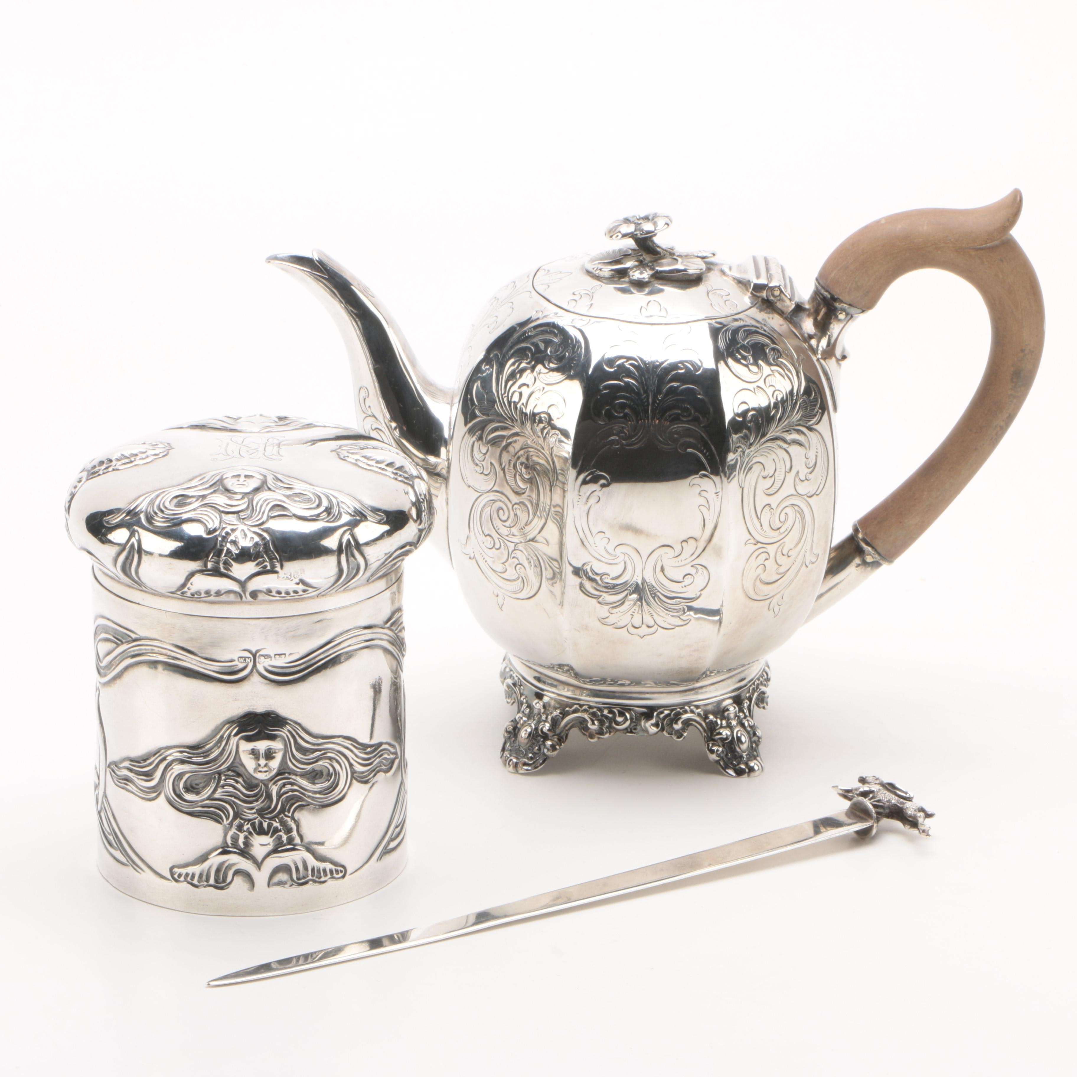 1844 Pierce & Burrows English Sterling Silver Teapot with Jar and Letter Opener