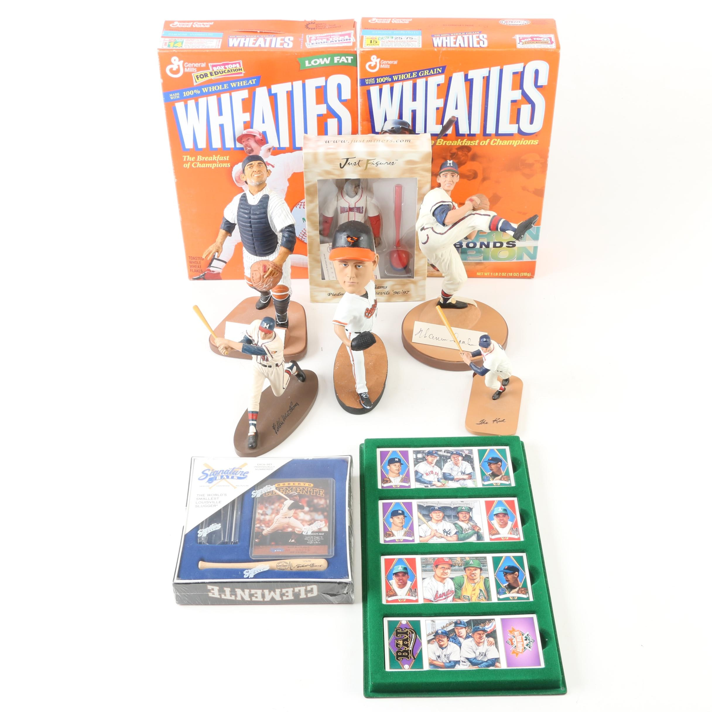 Assorted Baseball Figurines, Cards and Wheaties Boxes