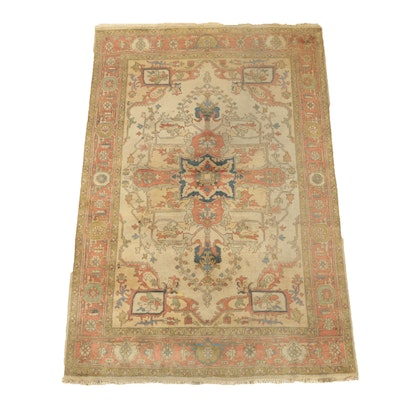 Hand-Knotted Indo-Persian Heriz Serapi Wool Area Rug