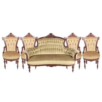 Victorian Walnut Five-Piece Salon Suite, Circa 1880