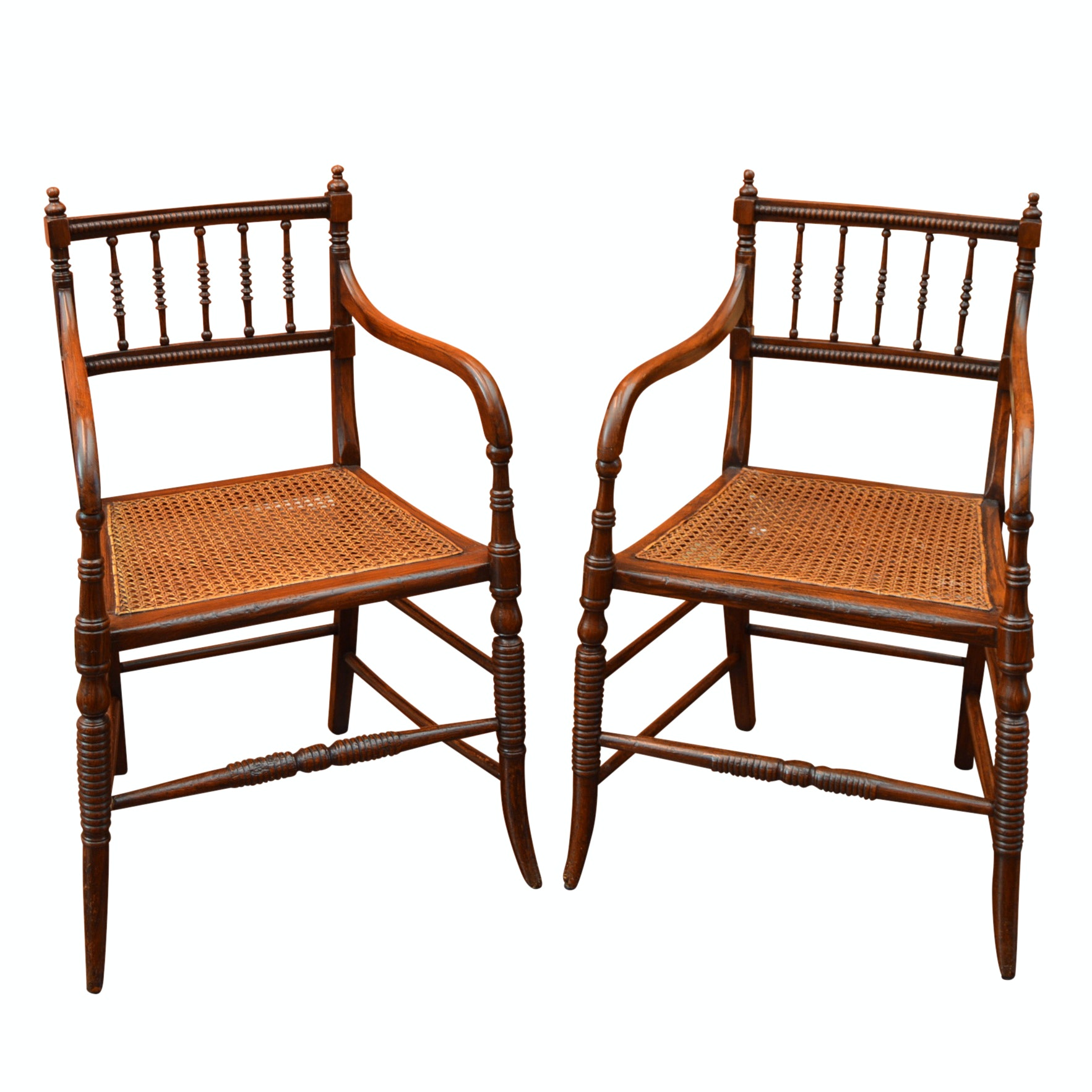 Pair of 19th Century Regency Elbow Side Chairs