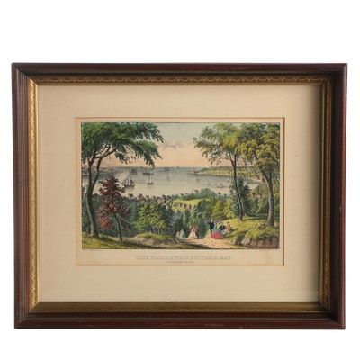 "Currier and Ives Lithograph ""The Narrows, New York Bay"""
