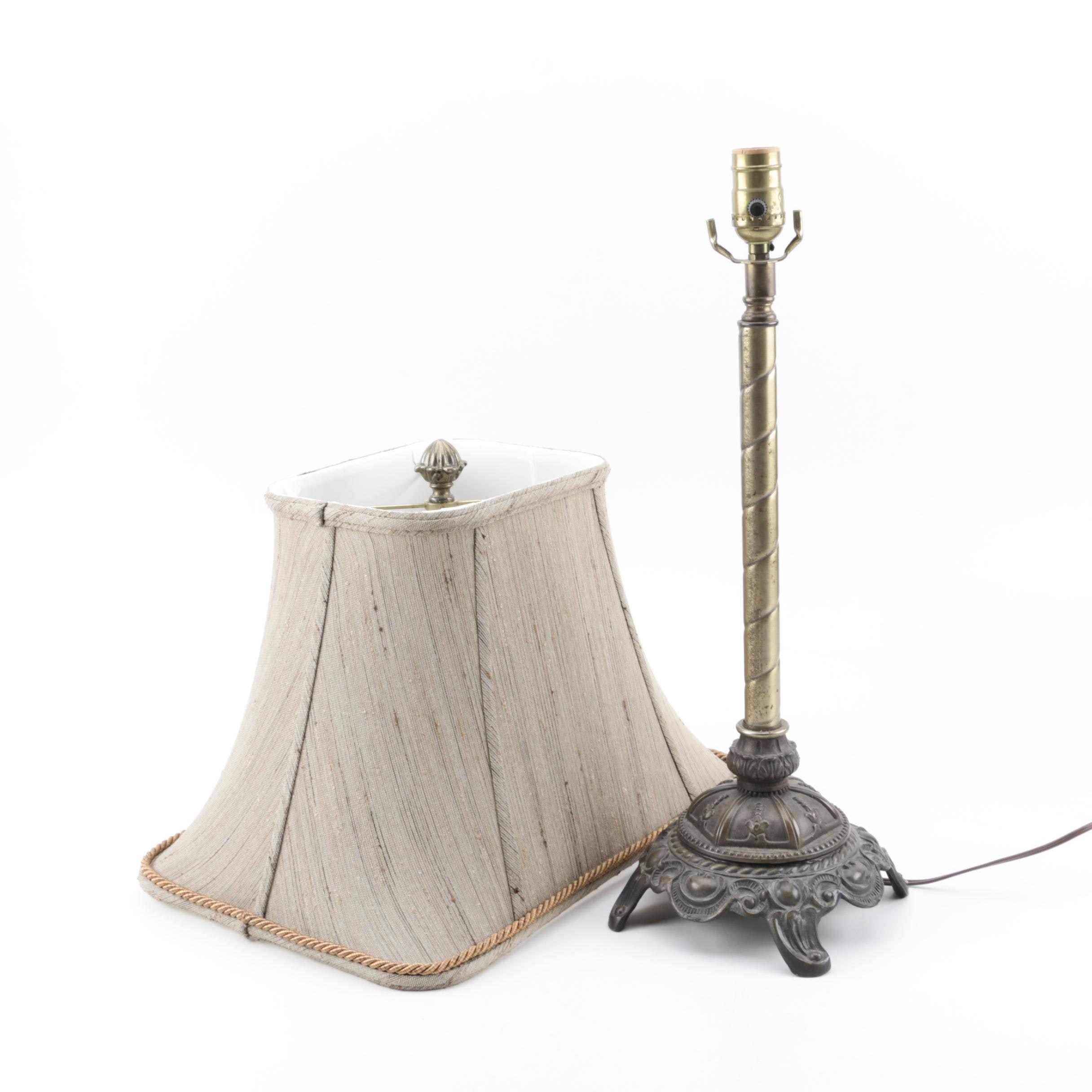 Contemporary Metal Base Table Lamp with Fabric Shade