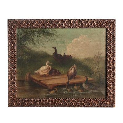 American School, Water Fowl, Oil Painting on Canvas, 19th Century