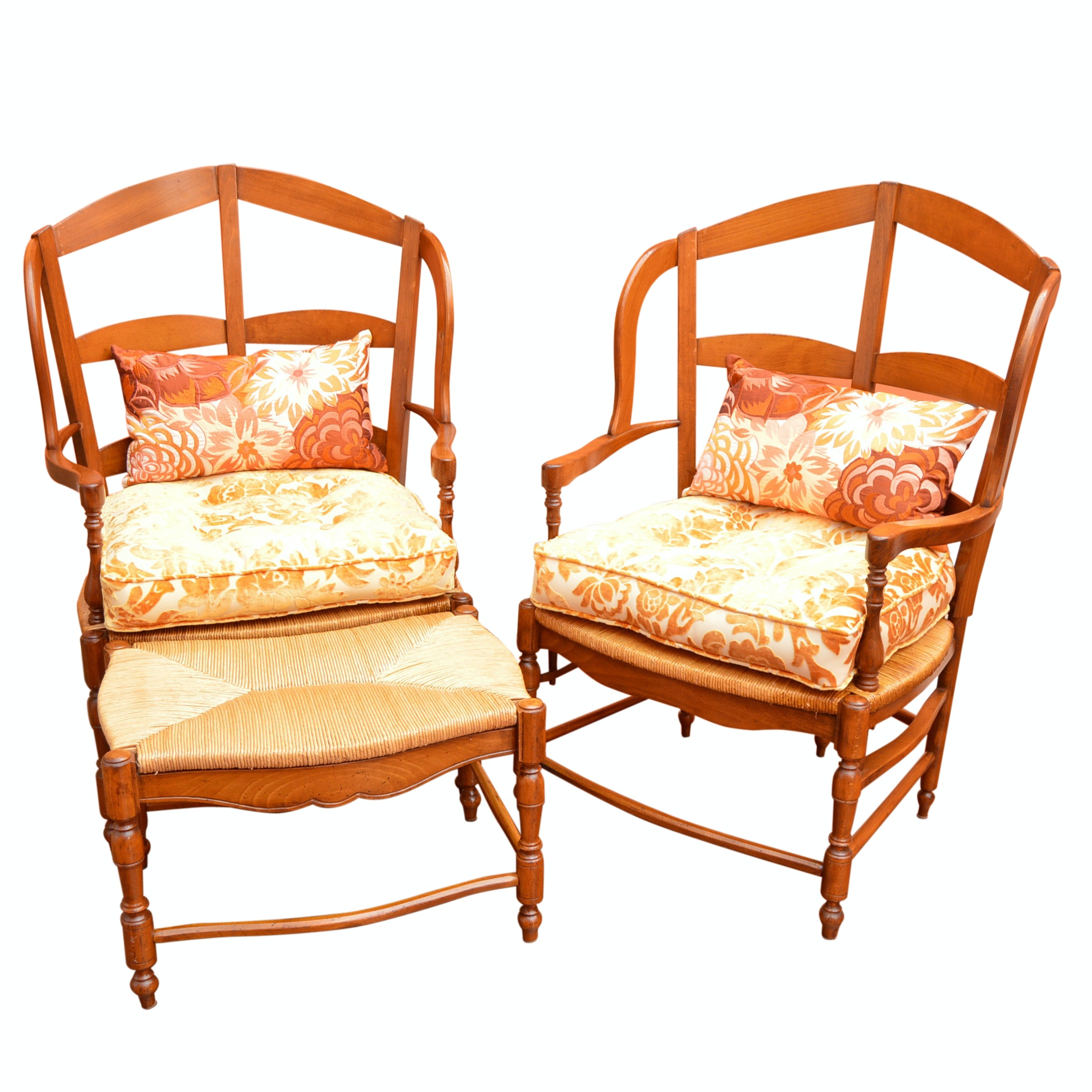 Pair of Vintage French Cherry Chairs With Ottoman