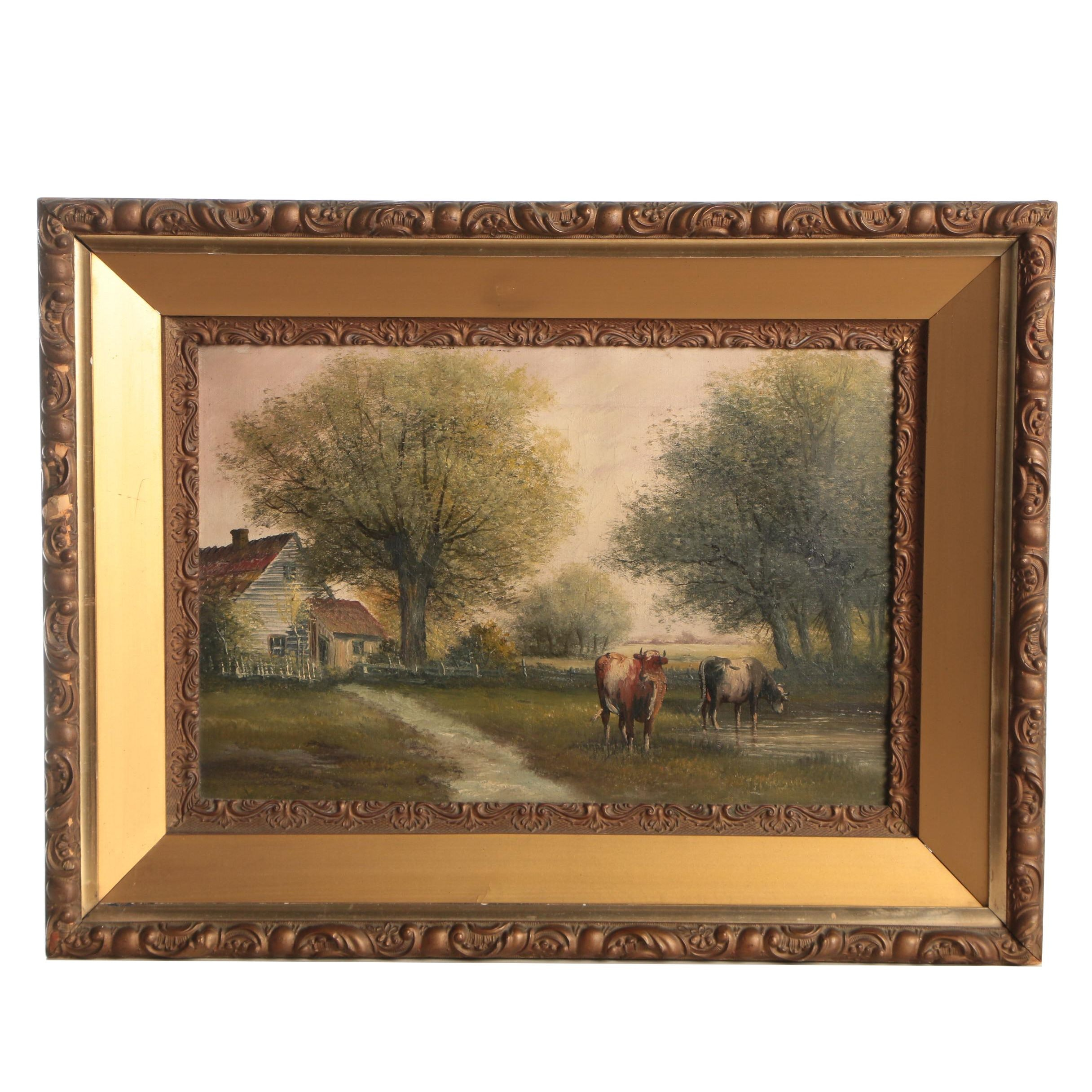 Andrew Millrose, Pastoral Landscape, Oil Painting, Late 19th Century