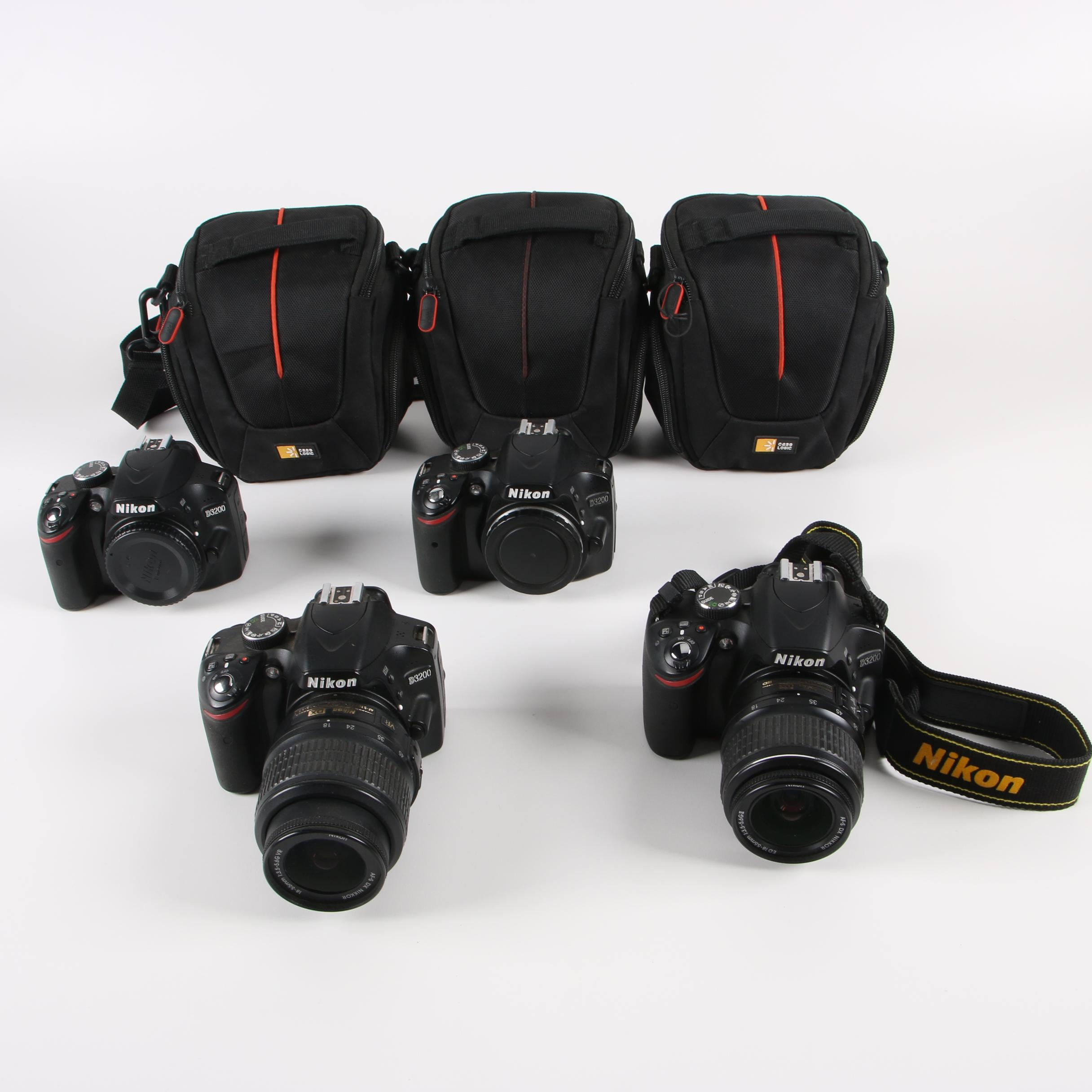 Nikon D3200 DSLR Camera Bodies with Lenses and Bags