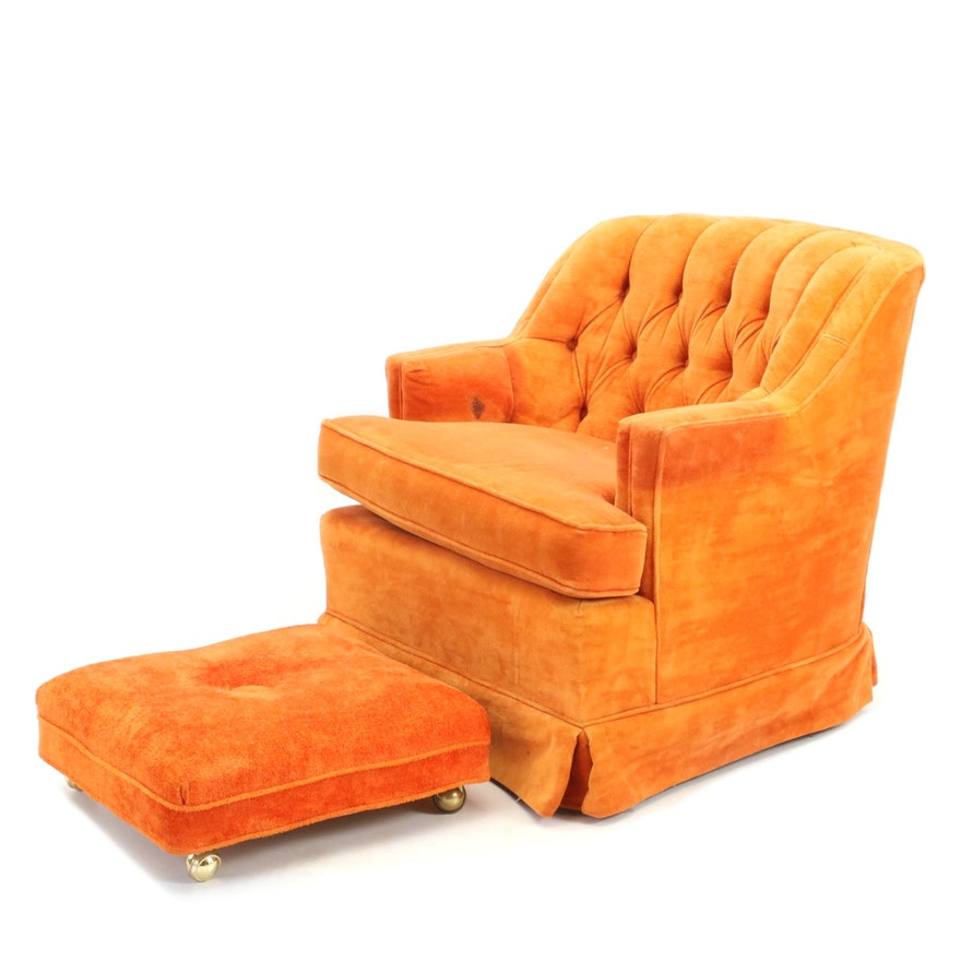 Vintage Club Chair and Ottoman By Carriage House