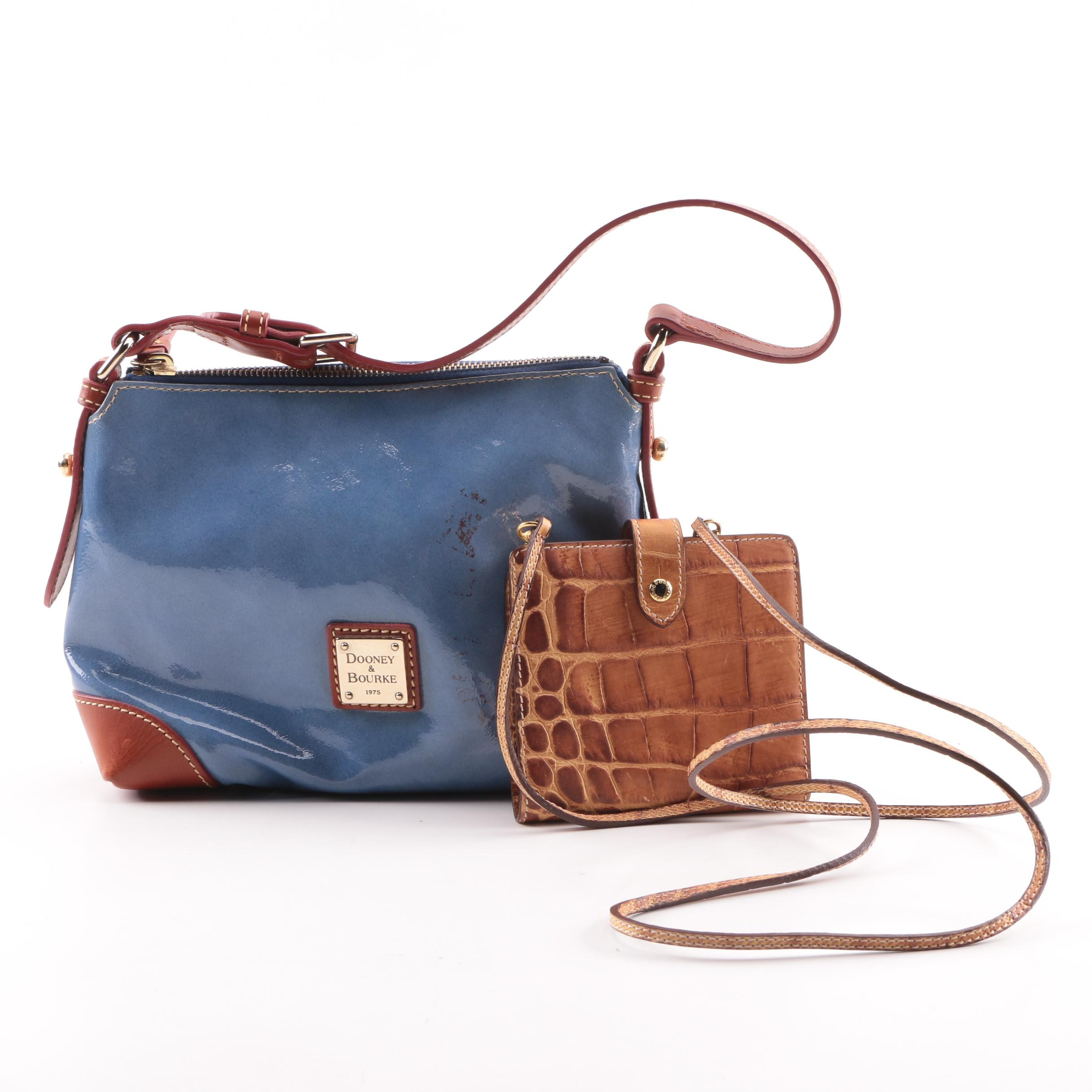 Dooney & Bourke Blue Patent Leather Bag and Embossed Leather Crossbody Wallet