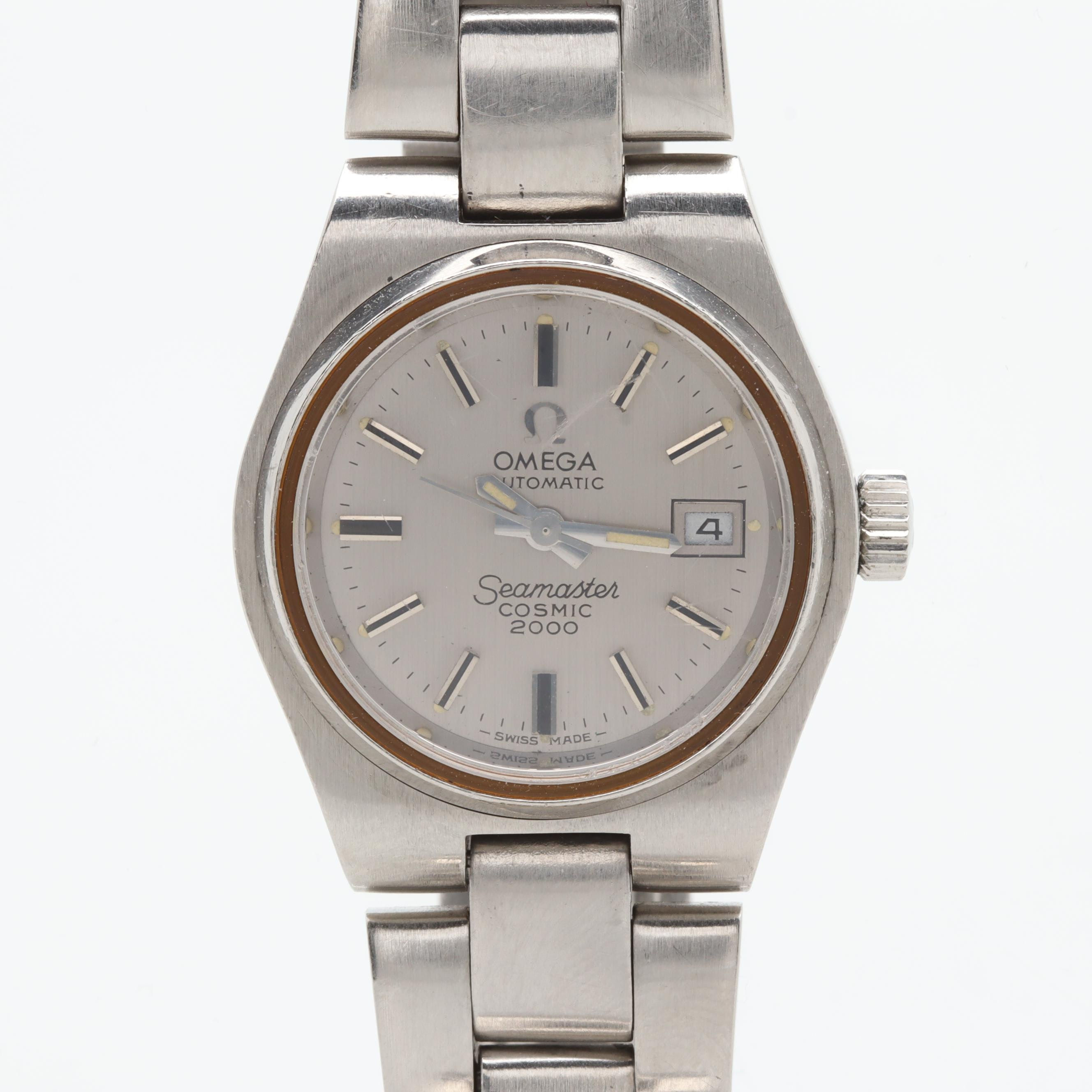 Omega Stainless Steel Silver Tone Dial Wristwatch