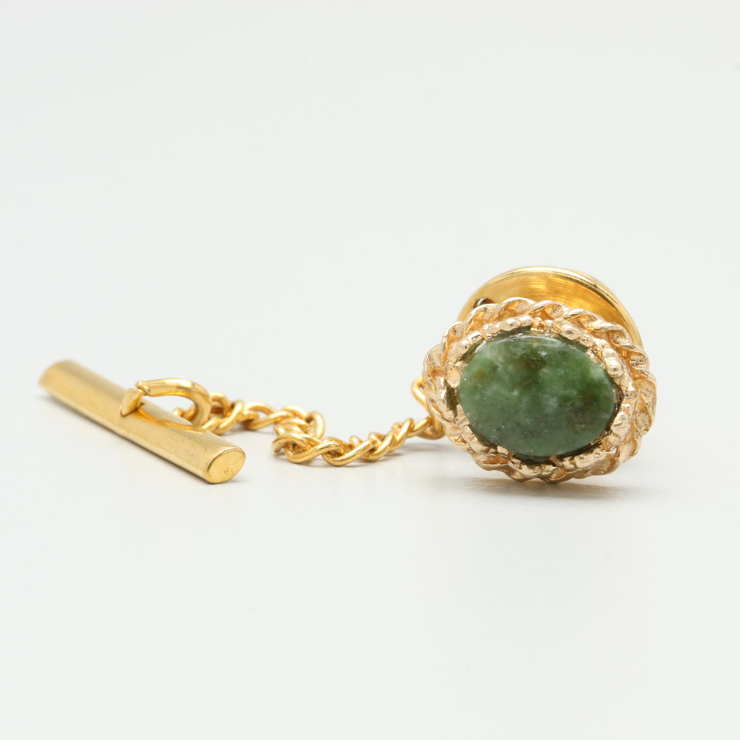 14K Yellow Gold Nephrite Tie Tack