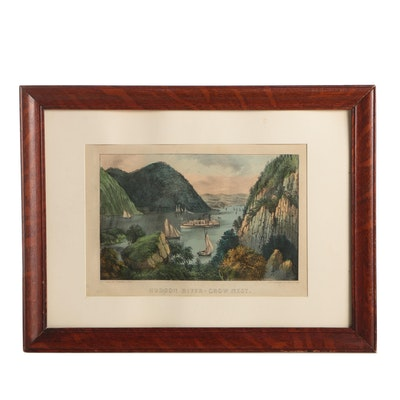 "Currier and Ives Hand-Colored Lithograph ""Hudson River - Crow Nest"""