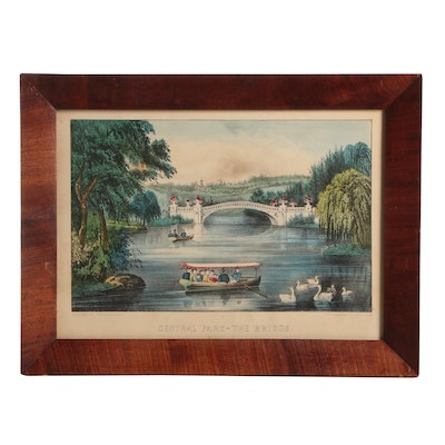 "Currier and Ives Hand-Colored Lithograph ""Central Park - The Bridge"""