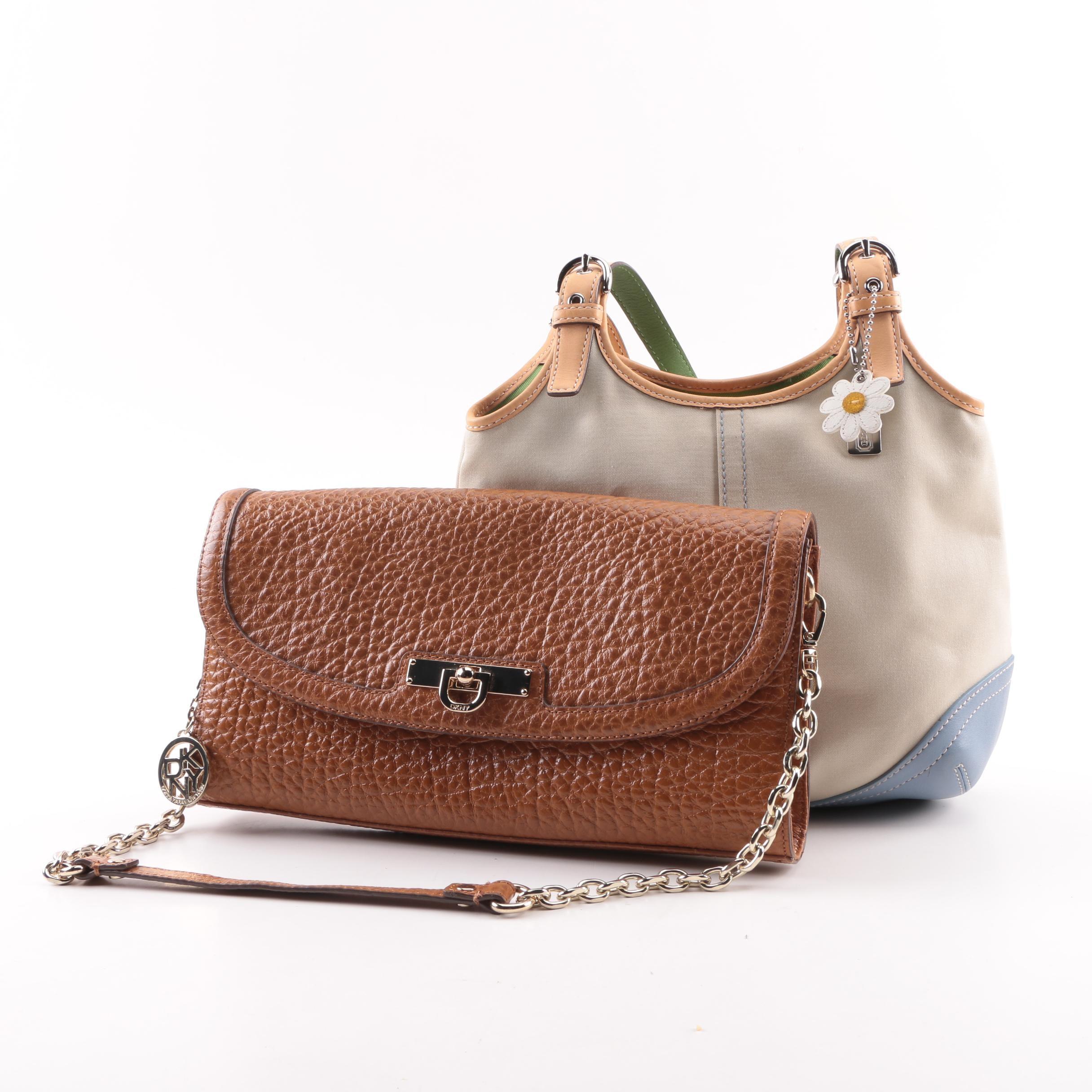 Coach Daisy Canvas Hobo Bag with DKNY Pebbled Leather Handbag