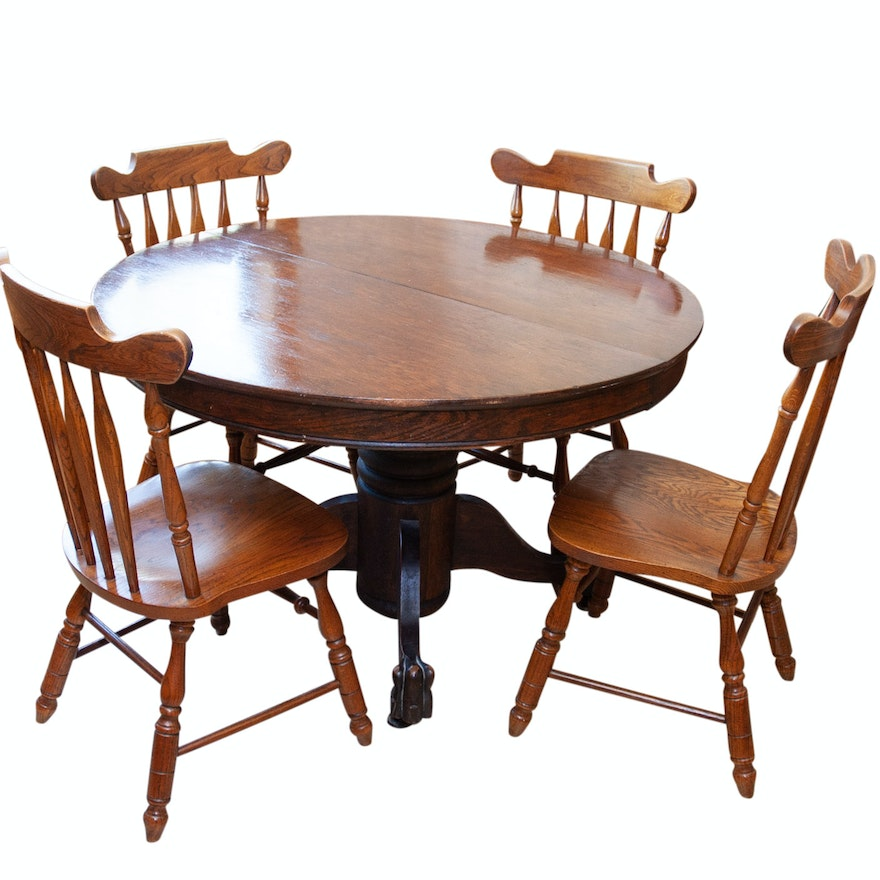 Vintage Pedestal Dining Table And Virginia House Furniture Chairs EBTH