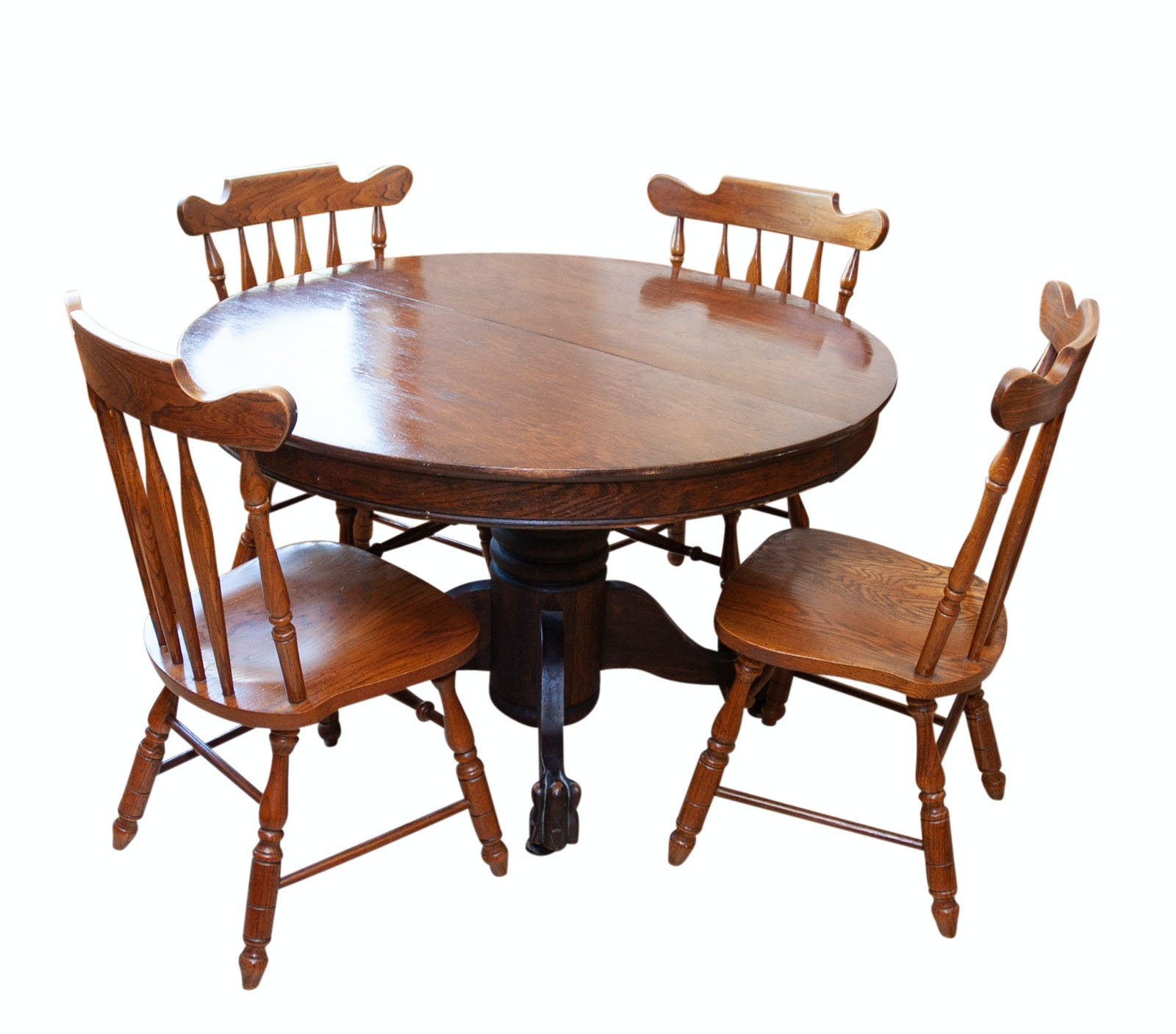 Vintage Pedestal Dining Table And Virginia House Furniture Chairs ...