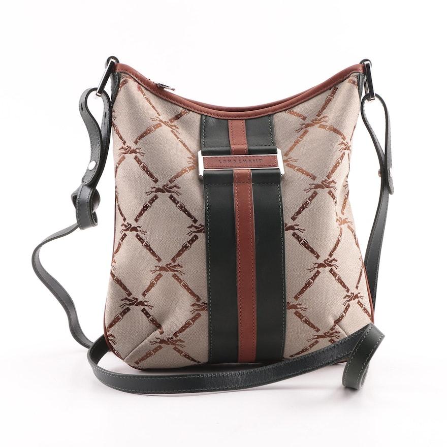 540e29844e5d Longchamp Signature Canvas and Leather Crossbody Hobo Bag   EBTH