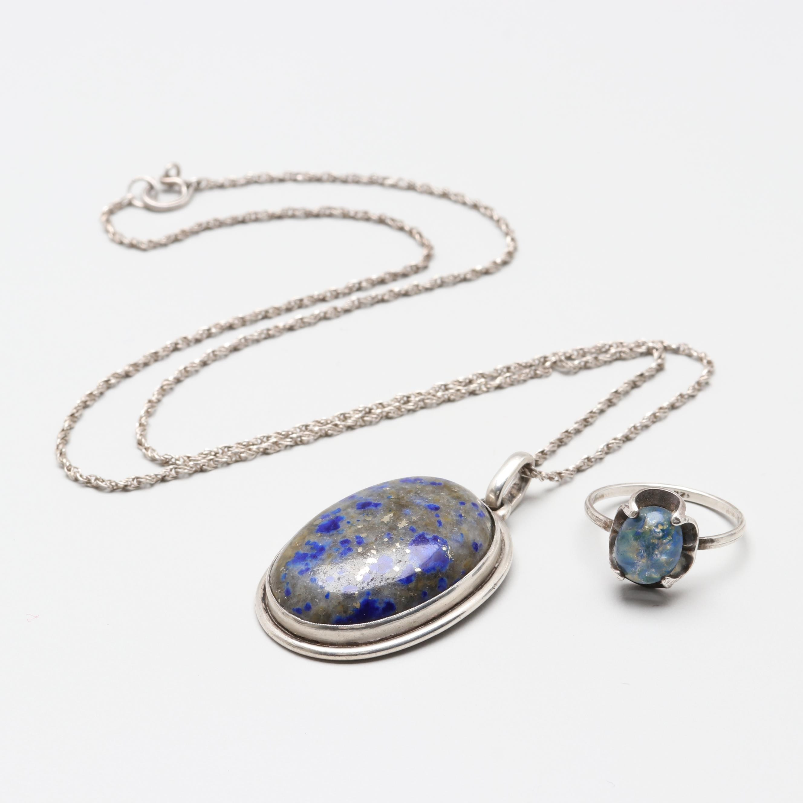 Sterling Silver Ring and Chain Necklace with 835 Silver Lapis Lazuli Pendant