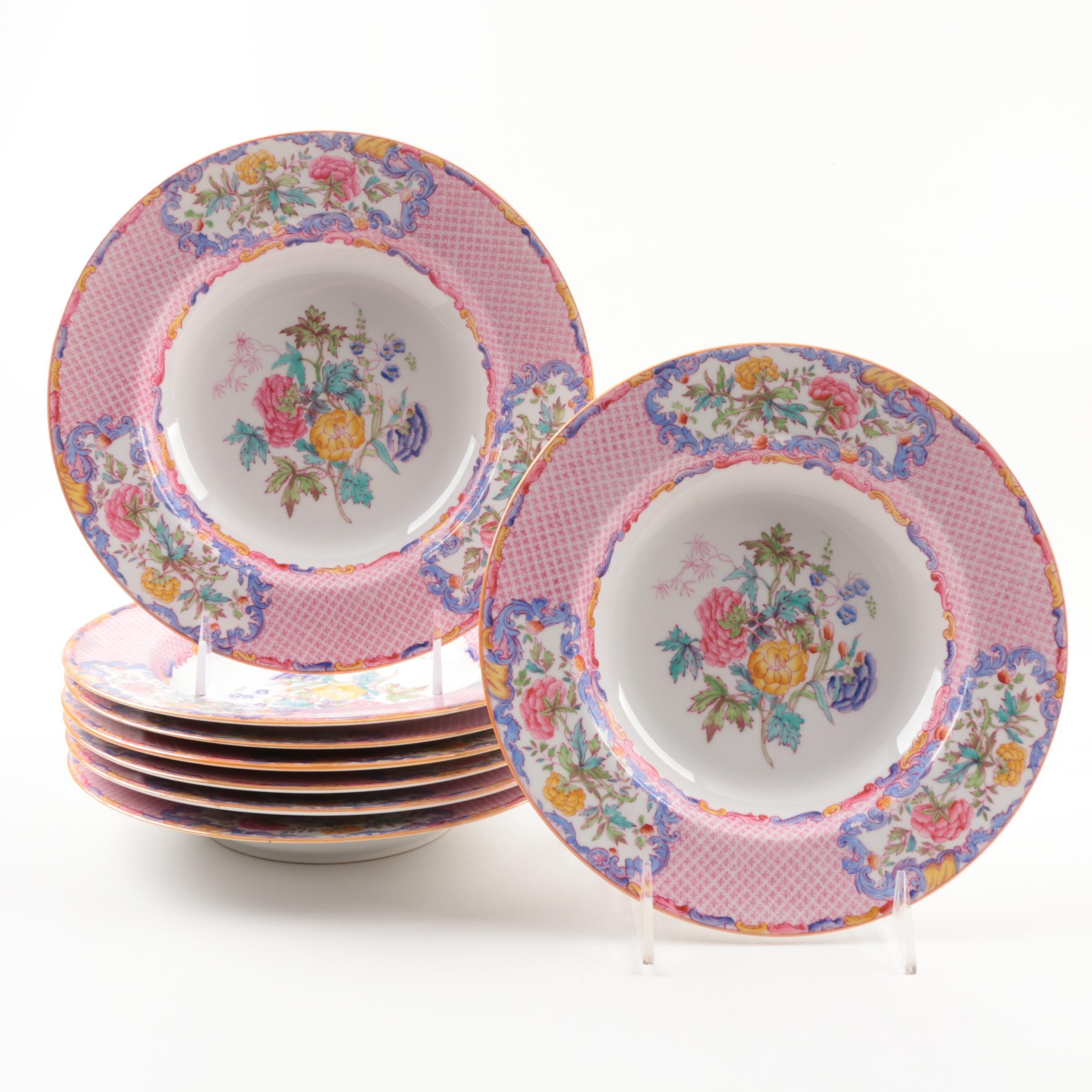 """Spode """"China Rose """" Transferware Soup Rim Bowls"""