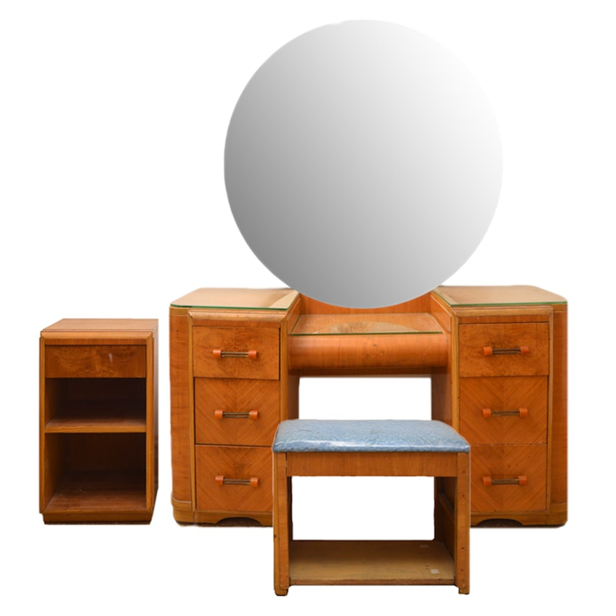 Art Deco Circular Mirror Waterfall Vanity With Bench And Nightstand