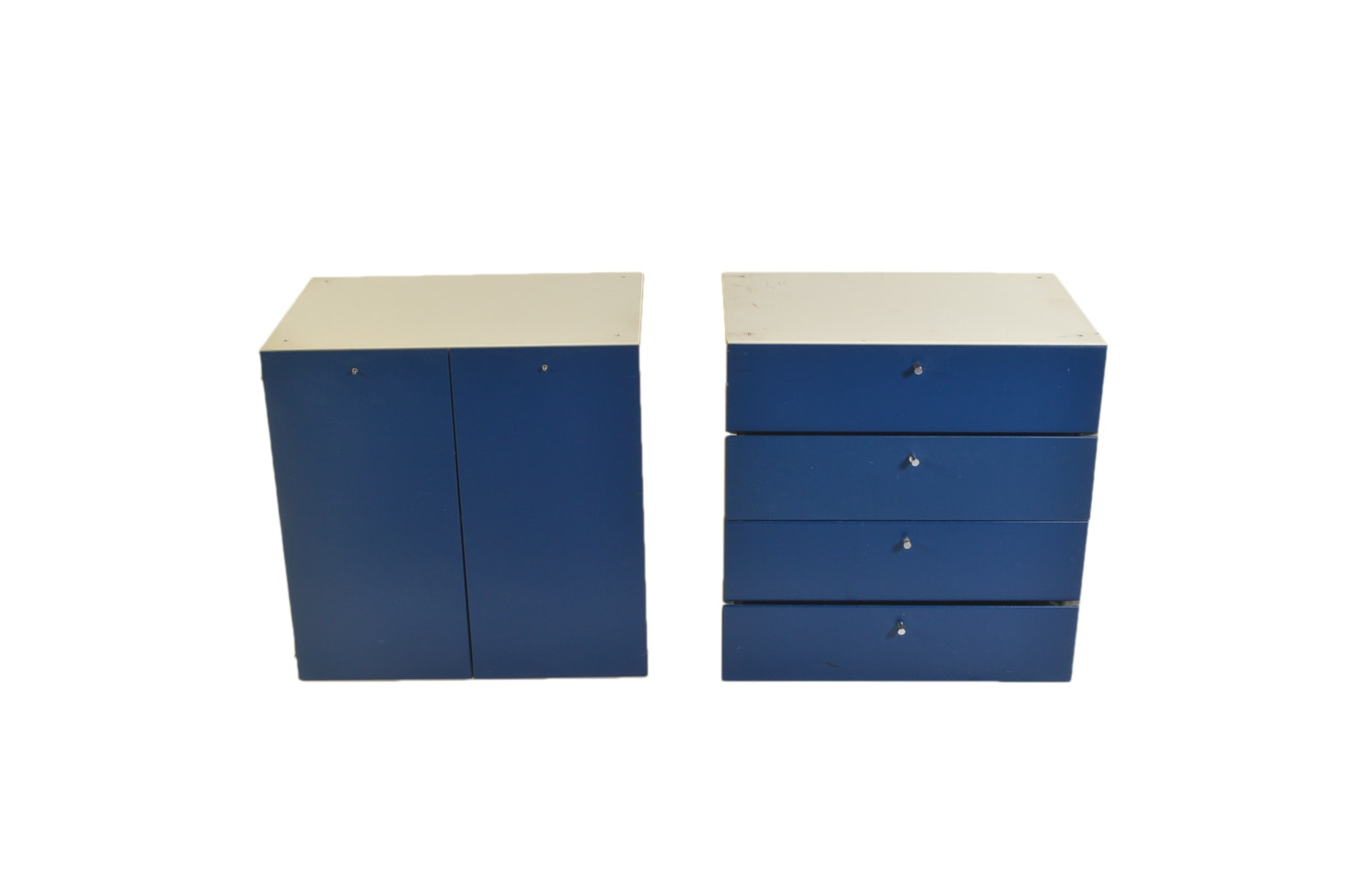 Blue and White Laminate Cabinet and Chest of Drawers