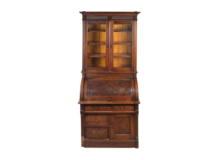 Antique Eastlake Mahogany Cylinder Desk with Bookcase